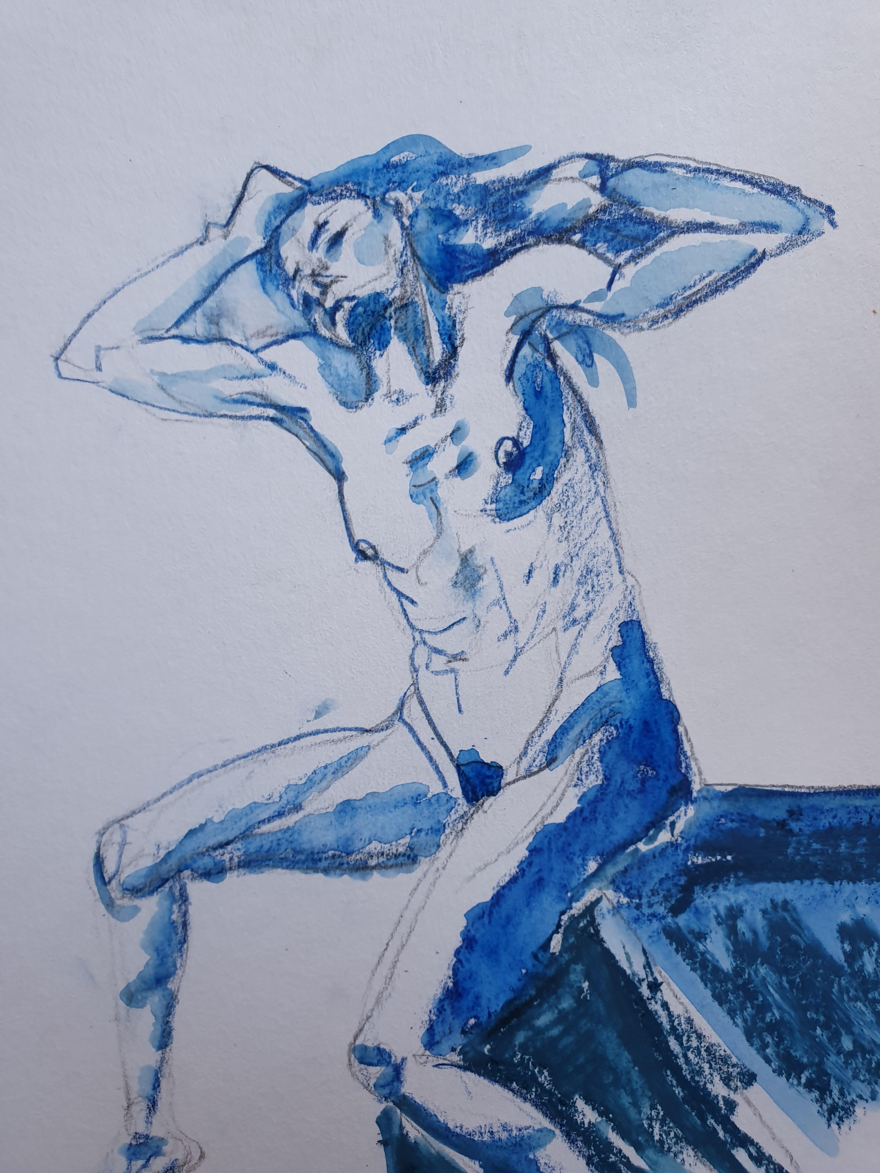 Aquarelle et pastel dessin bleue  cours de dessin