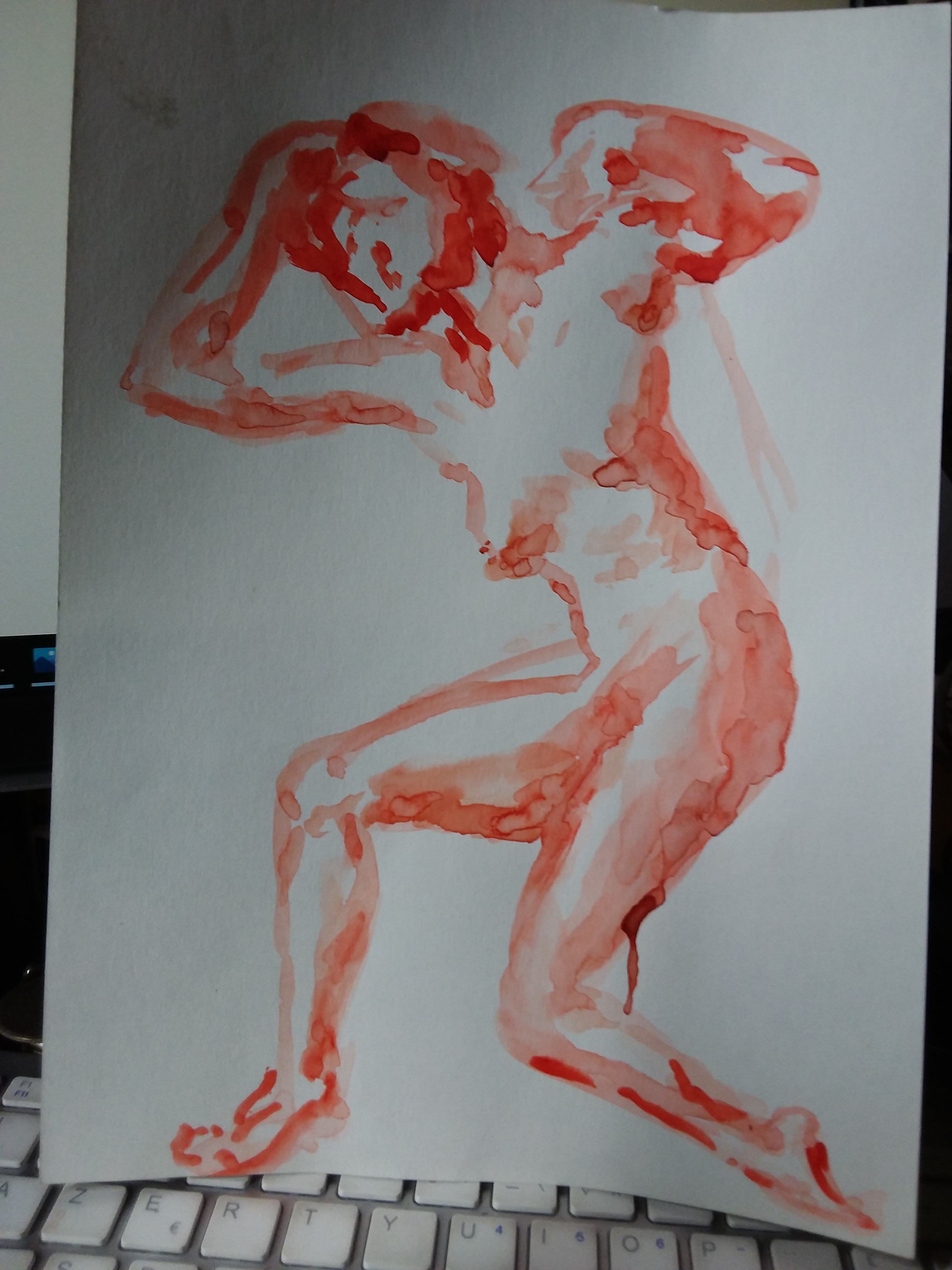 Aquarelle orange sur papier  cours de dessin
