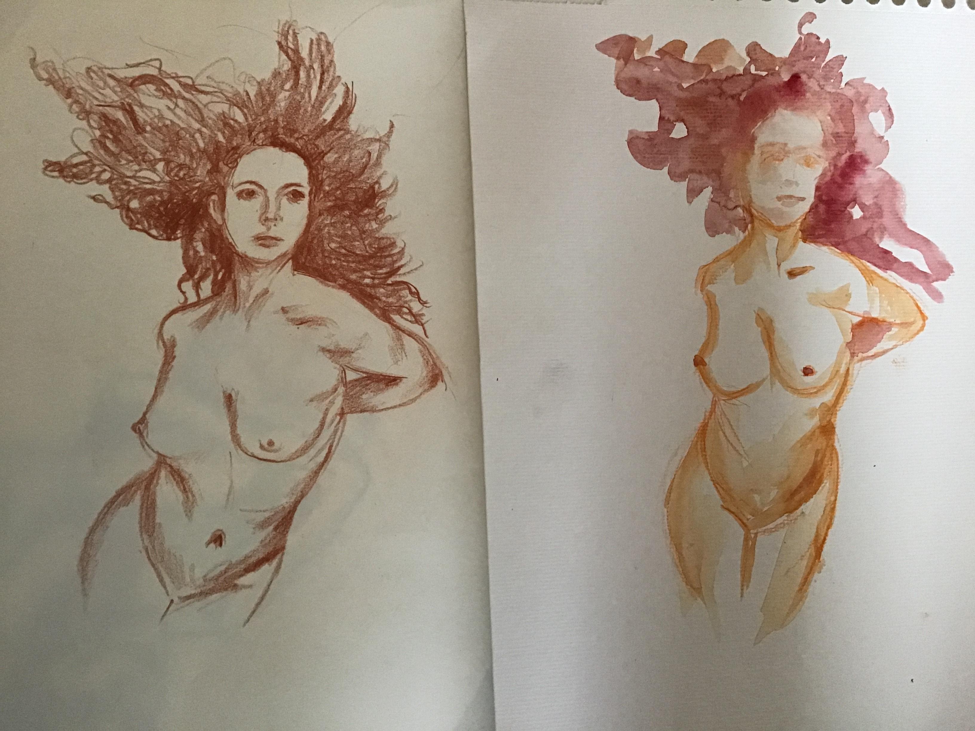 2 etudes aquarelles et sanguines  cours de dessin