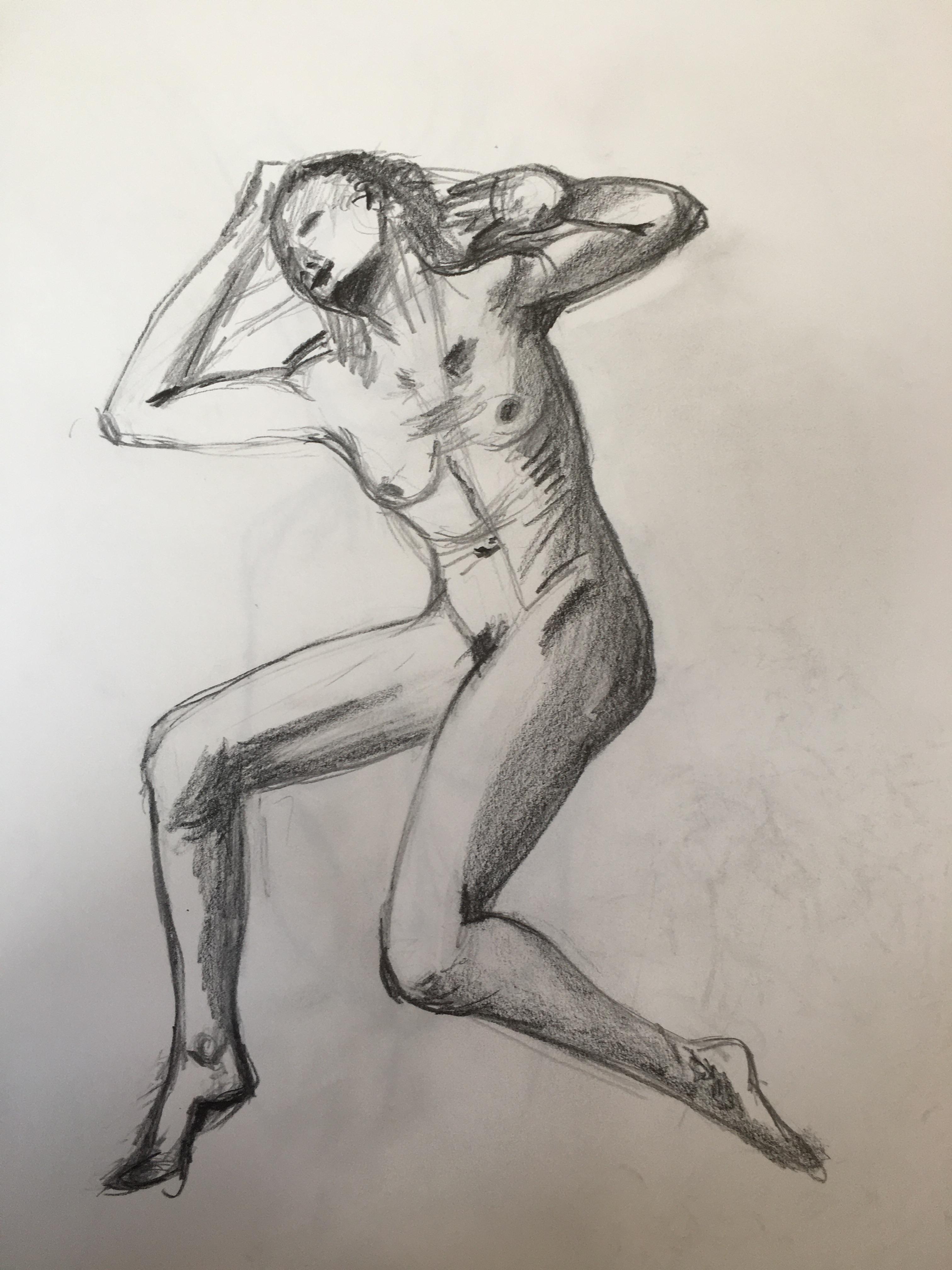 Dessin graphite sur papier mod�le vivant Assis  cours de dessin