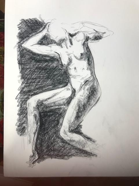 Esquisse �tude du buste fusain  cours de dessin
