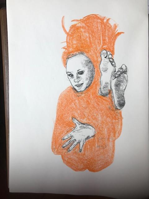 Crayon de couleur orange graphite dessin  cours de dessin
