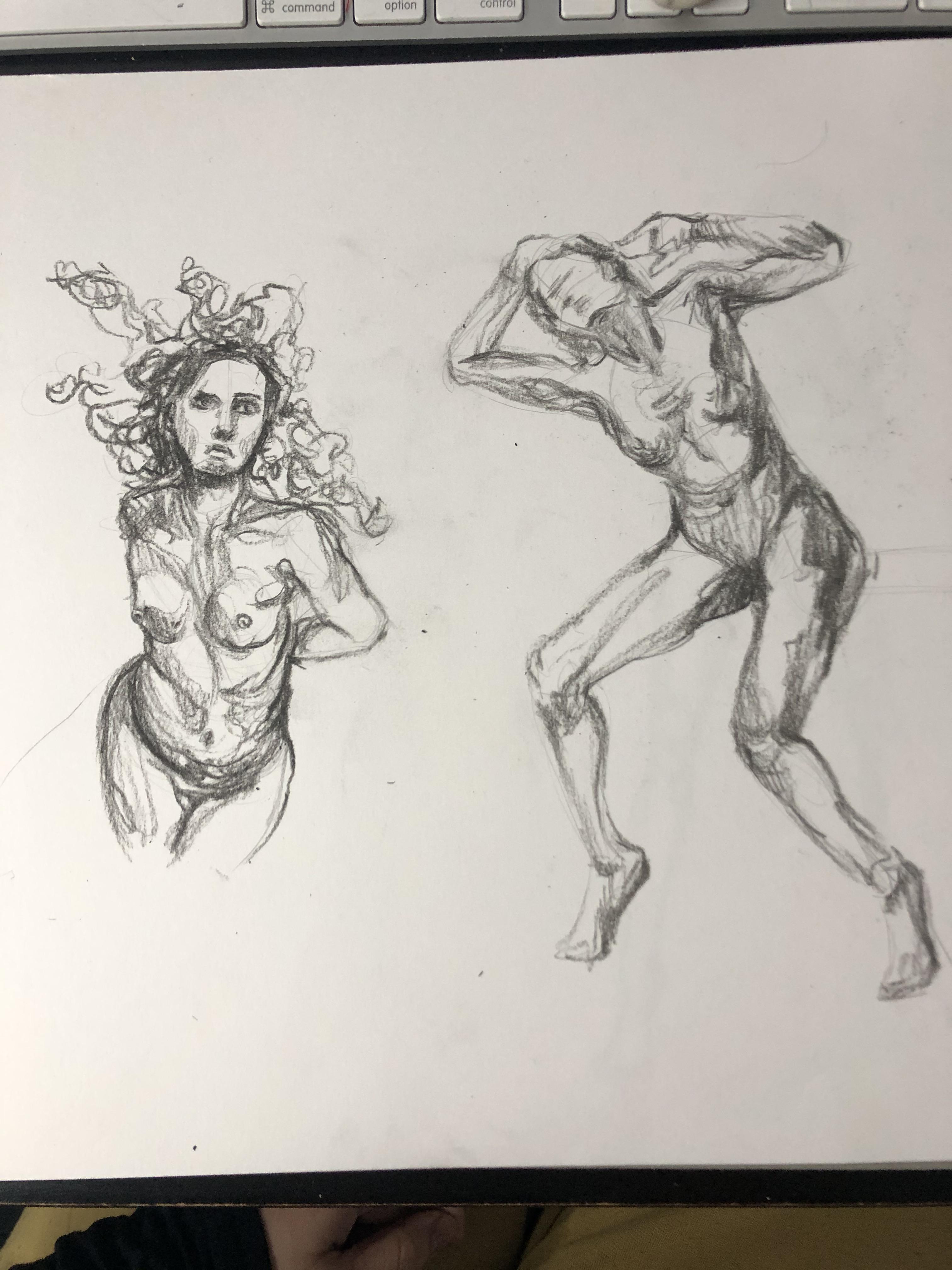 Esquisse rapide �tude de mouvement  cours de dessin