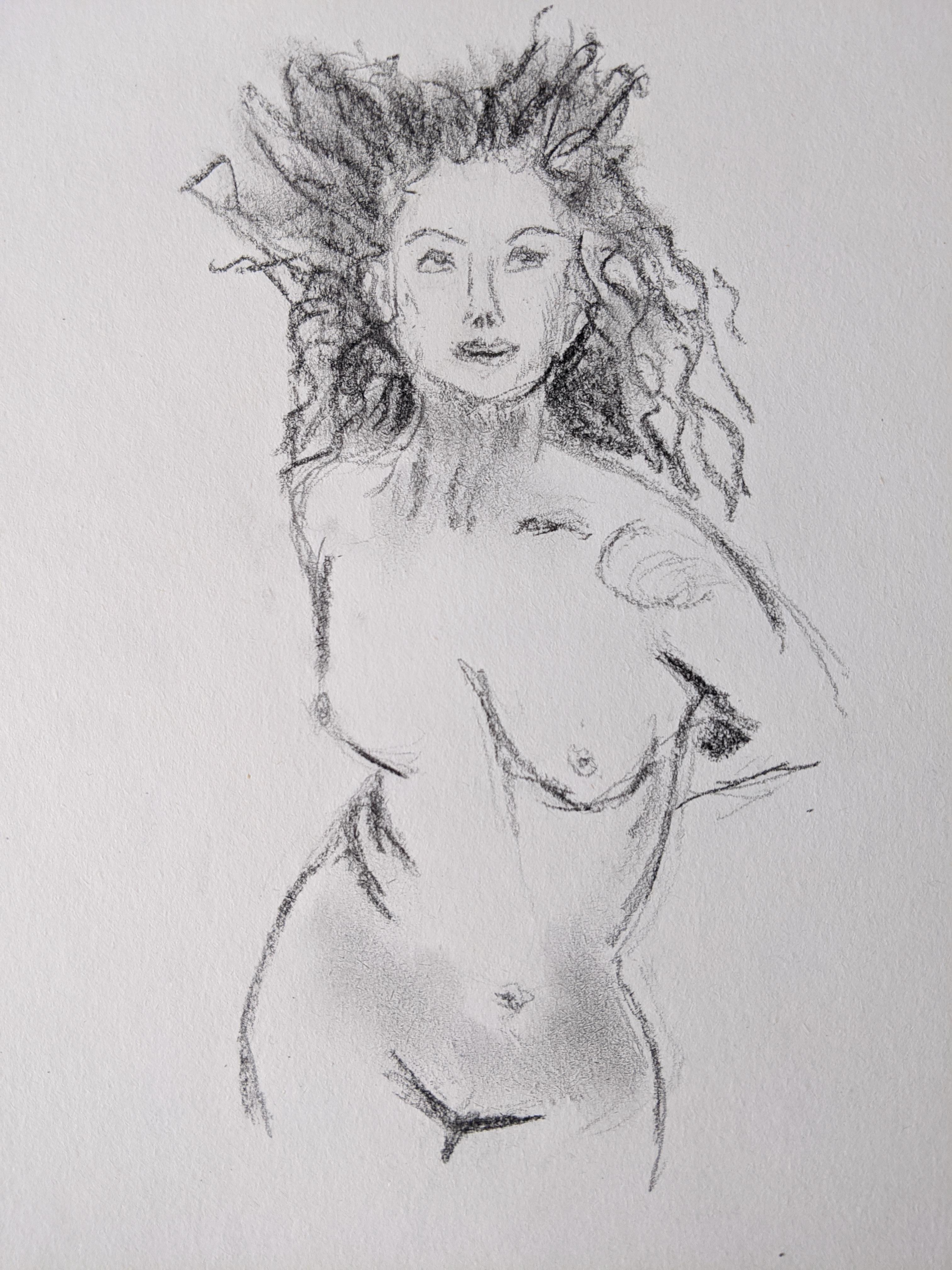 �bauche fusain sur papier  cours de dessin