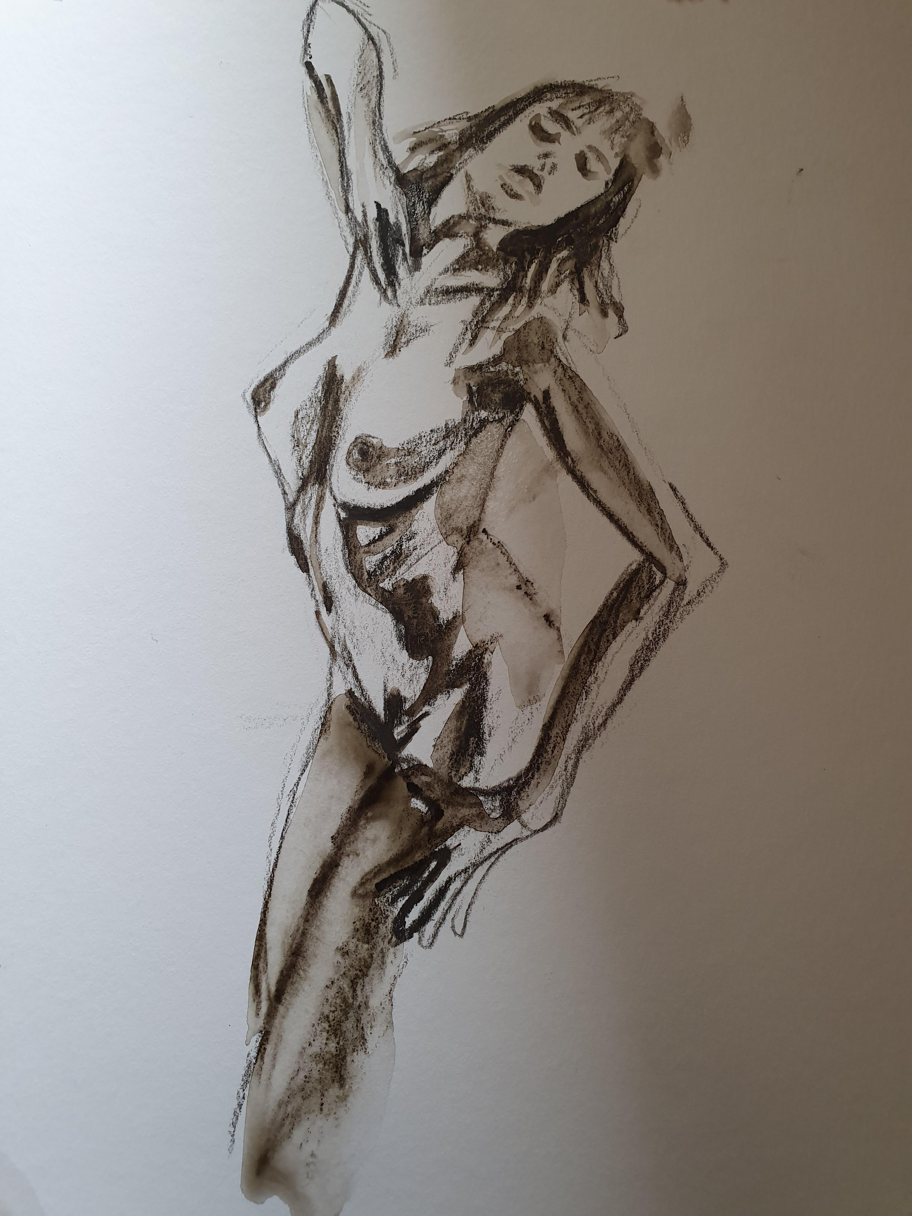 Fusain aquarelle sur papier  cours de dessin