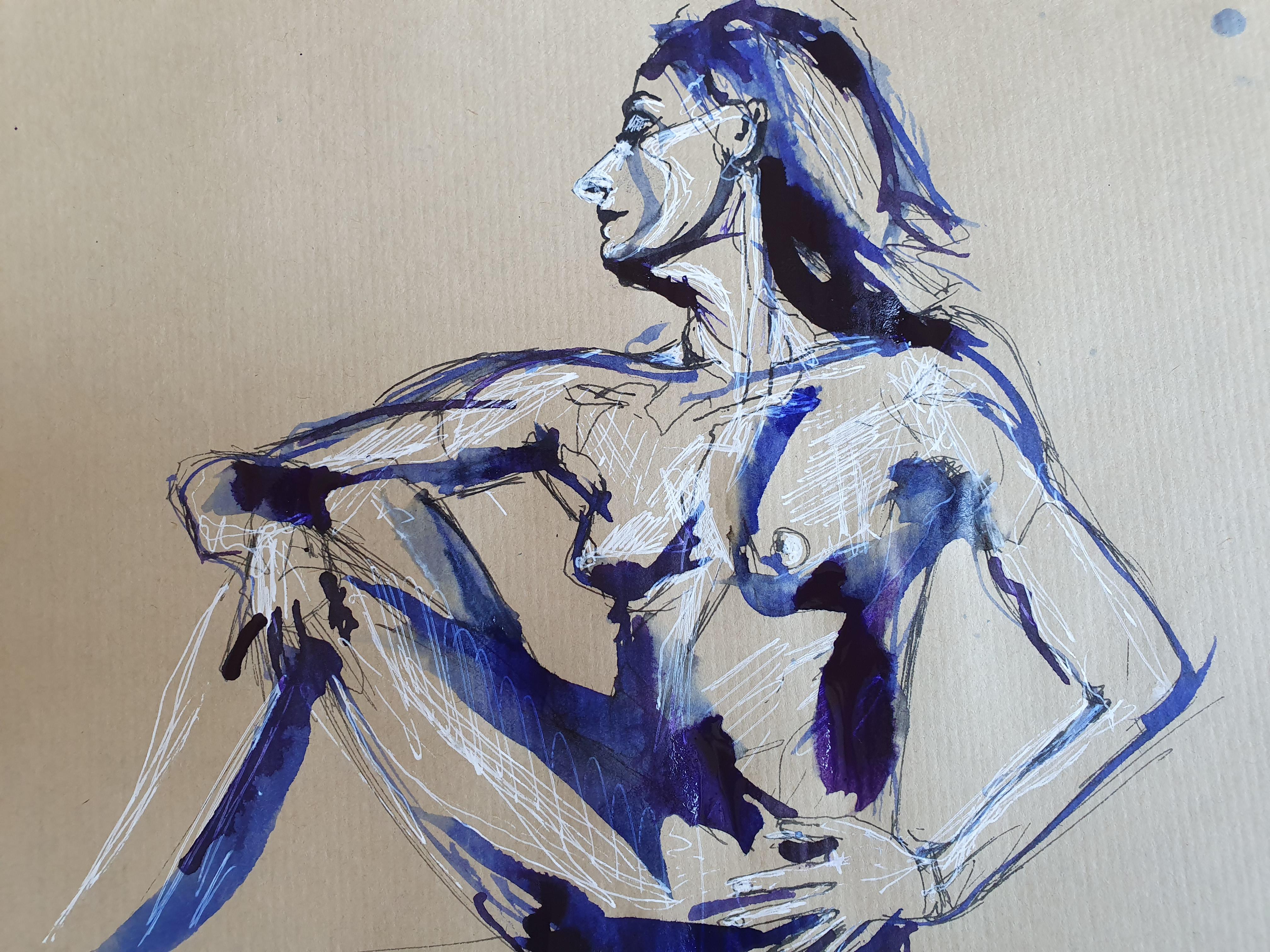 Encre et plume sur papier Kraft bleu  cours de dessin