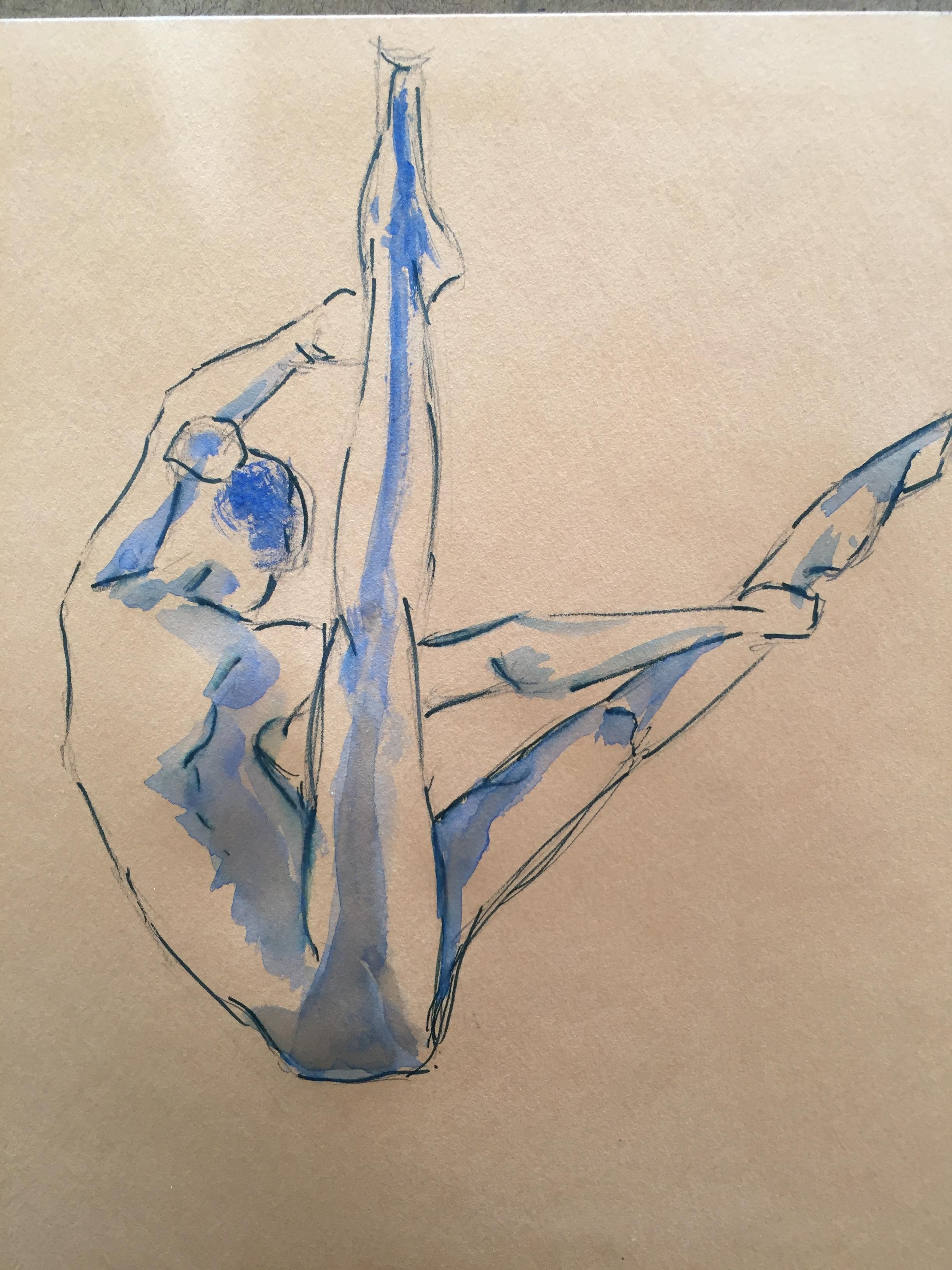 Dessins à la plume à l'aquarelle bleu danseuse  cours de dessin