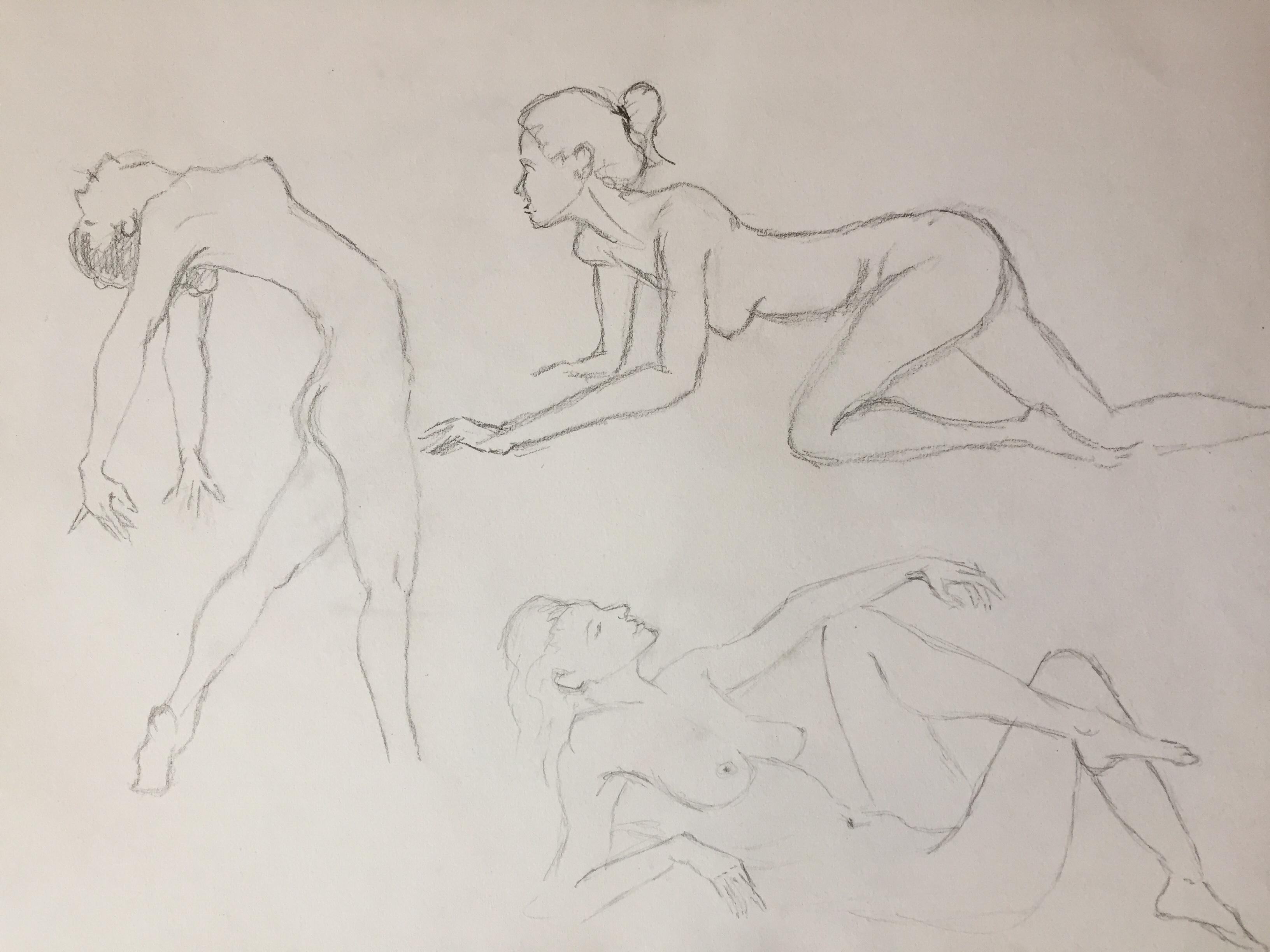 Étude position corps femme dessin  cours de dessin