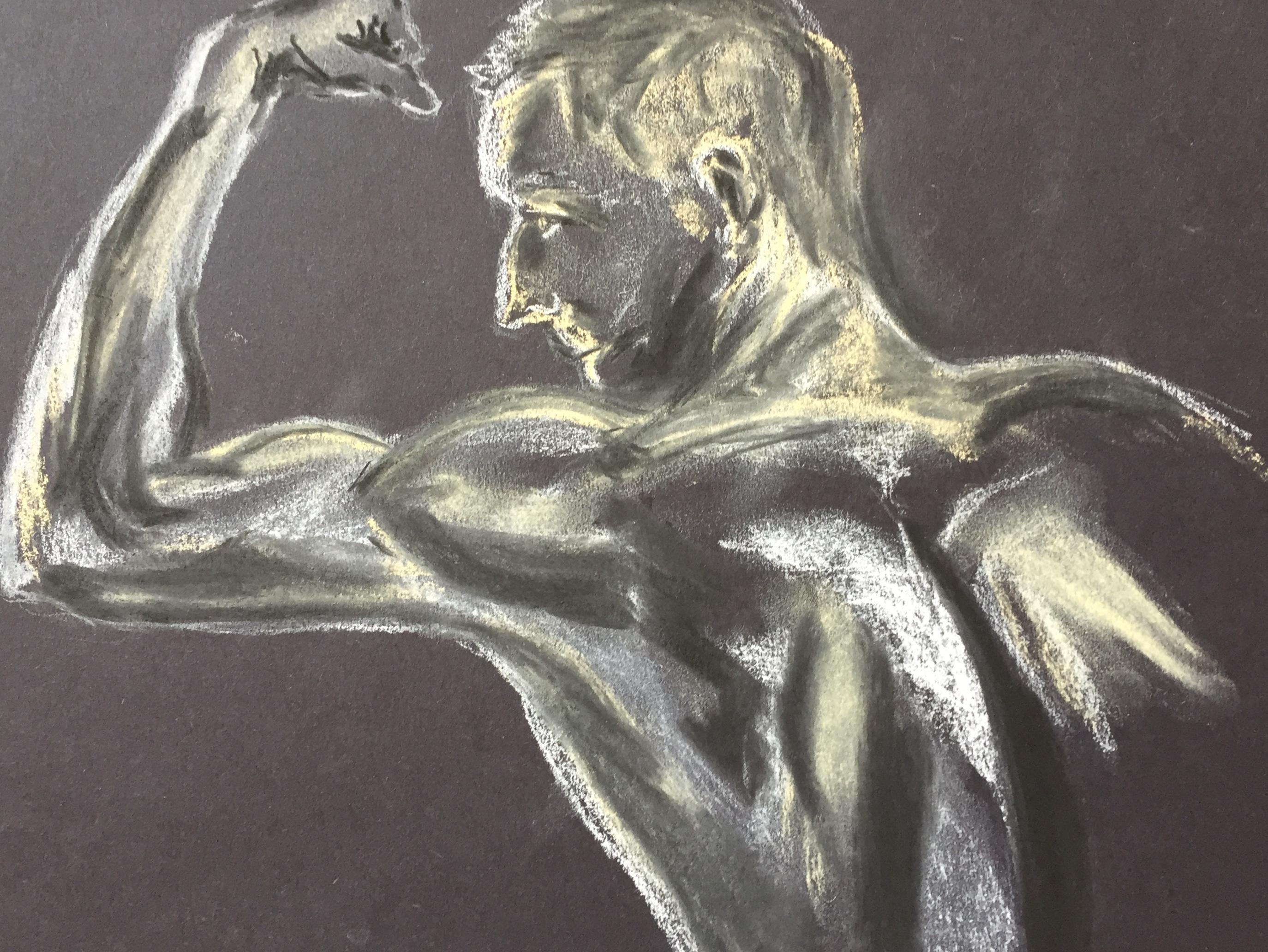 Trois quarts dos homme dessin au pastel sur papier noir  cours de dessin