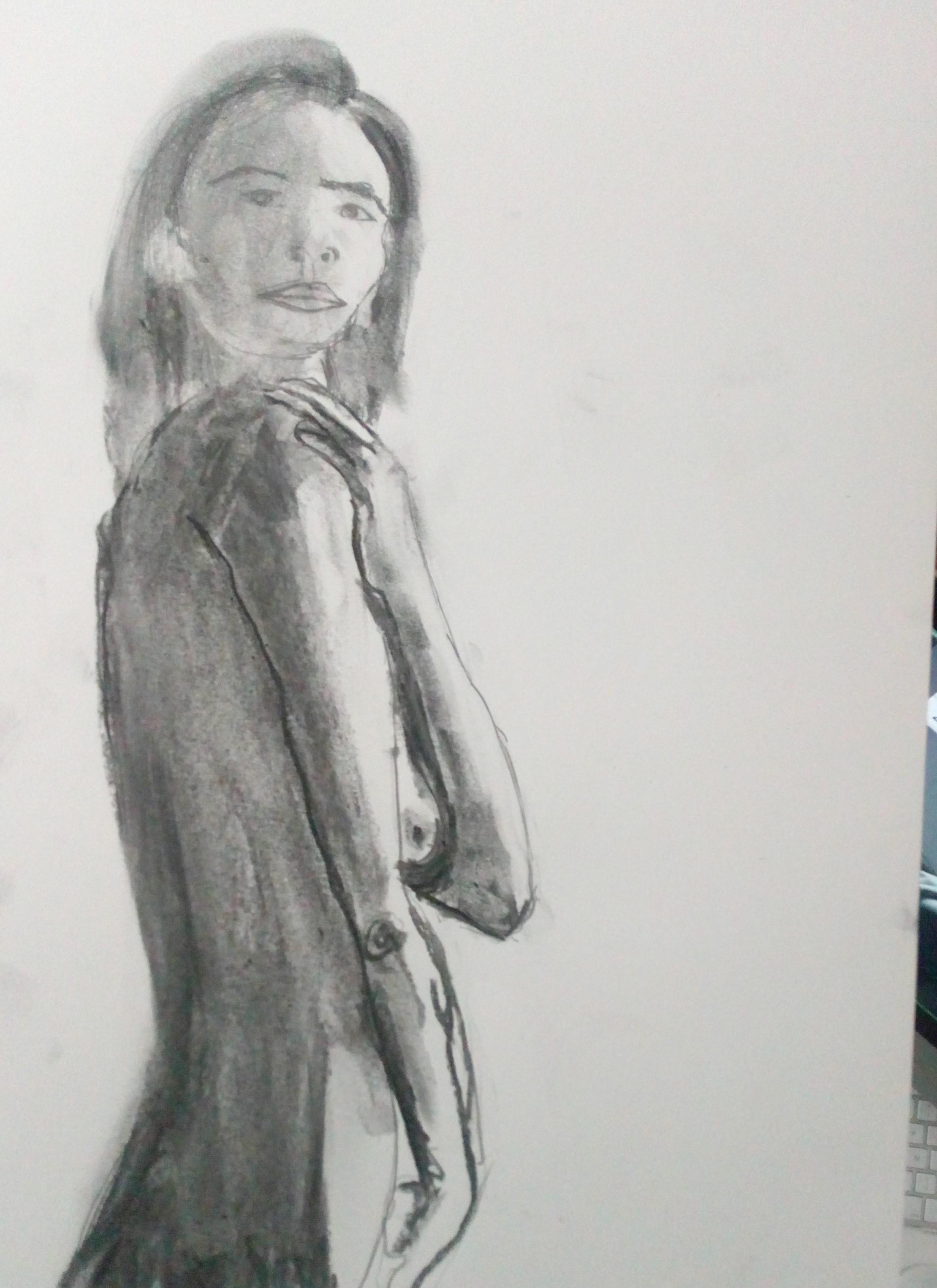 Fusain sur papier profil  cours de dessin