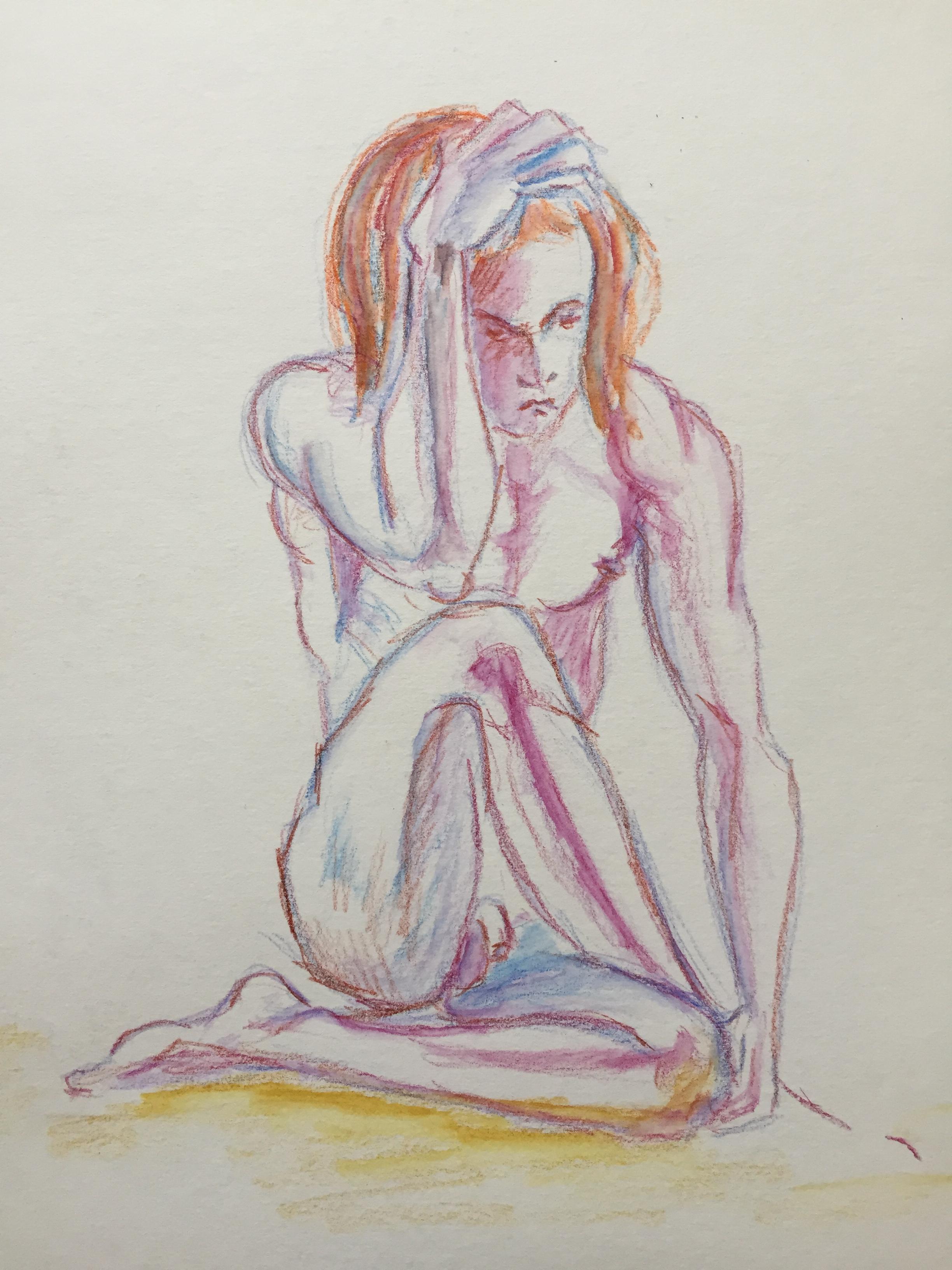 Croquis crayon de couleur et aquarelle  cours de dessin