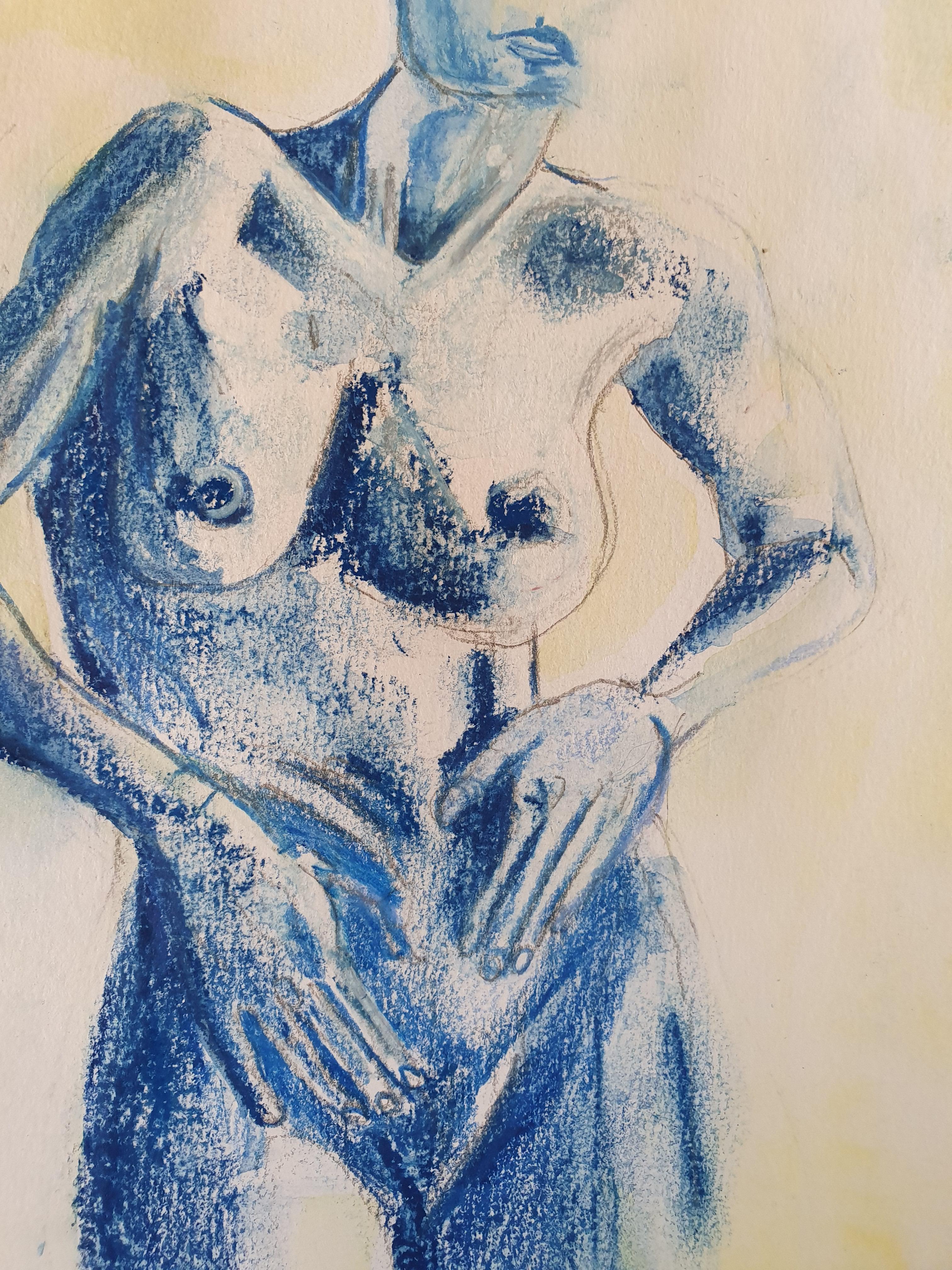 Dessin pastel aquarelle bleu torse face  cours de dessin
