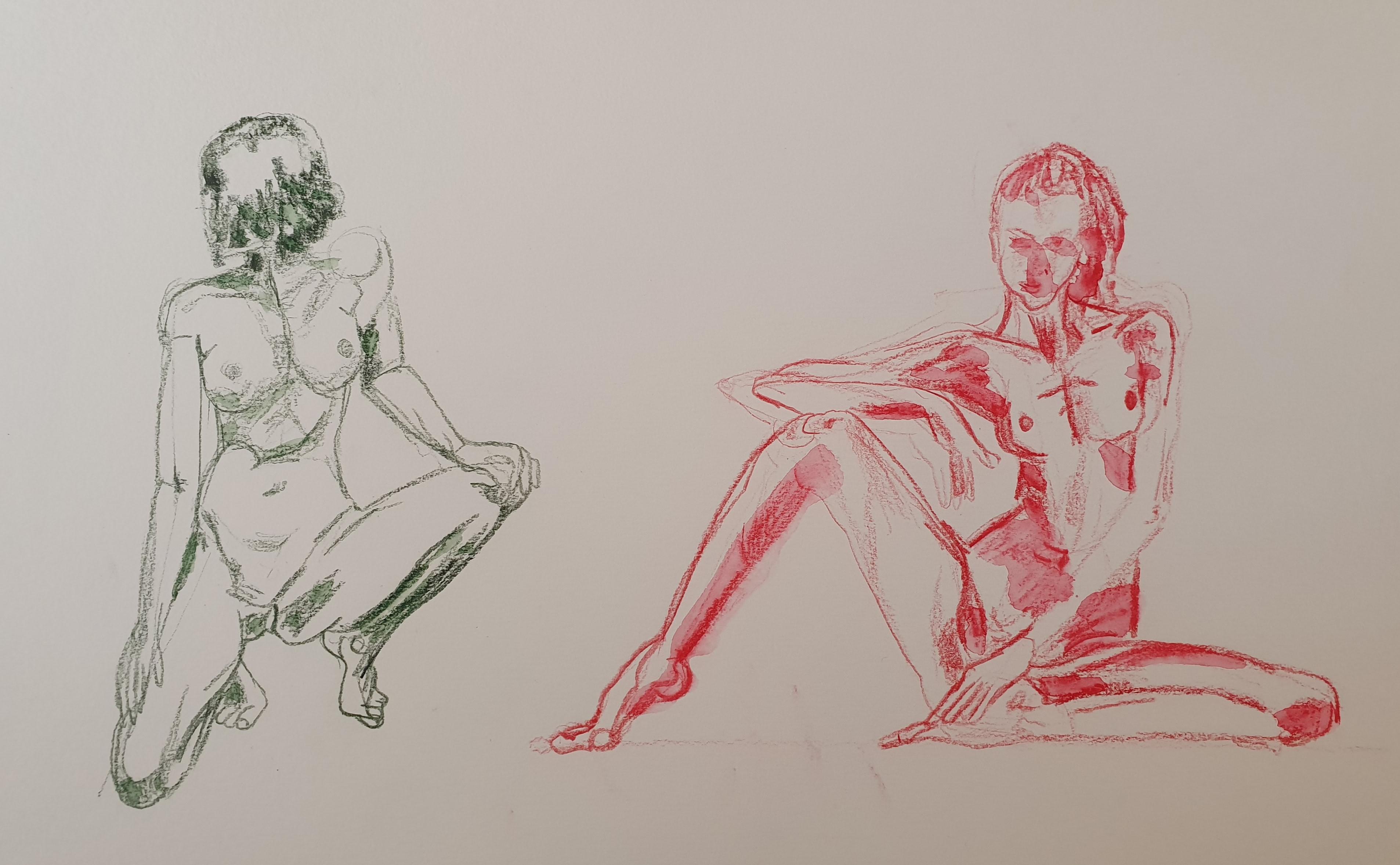 Étude mouvements du corps crayon de couleur verte et rouge  cours de dessin