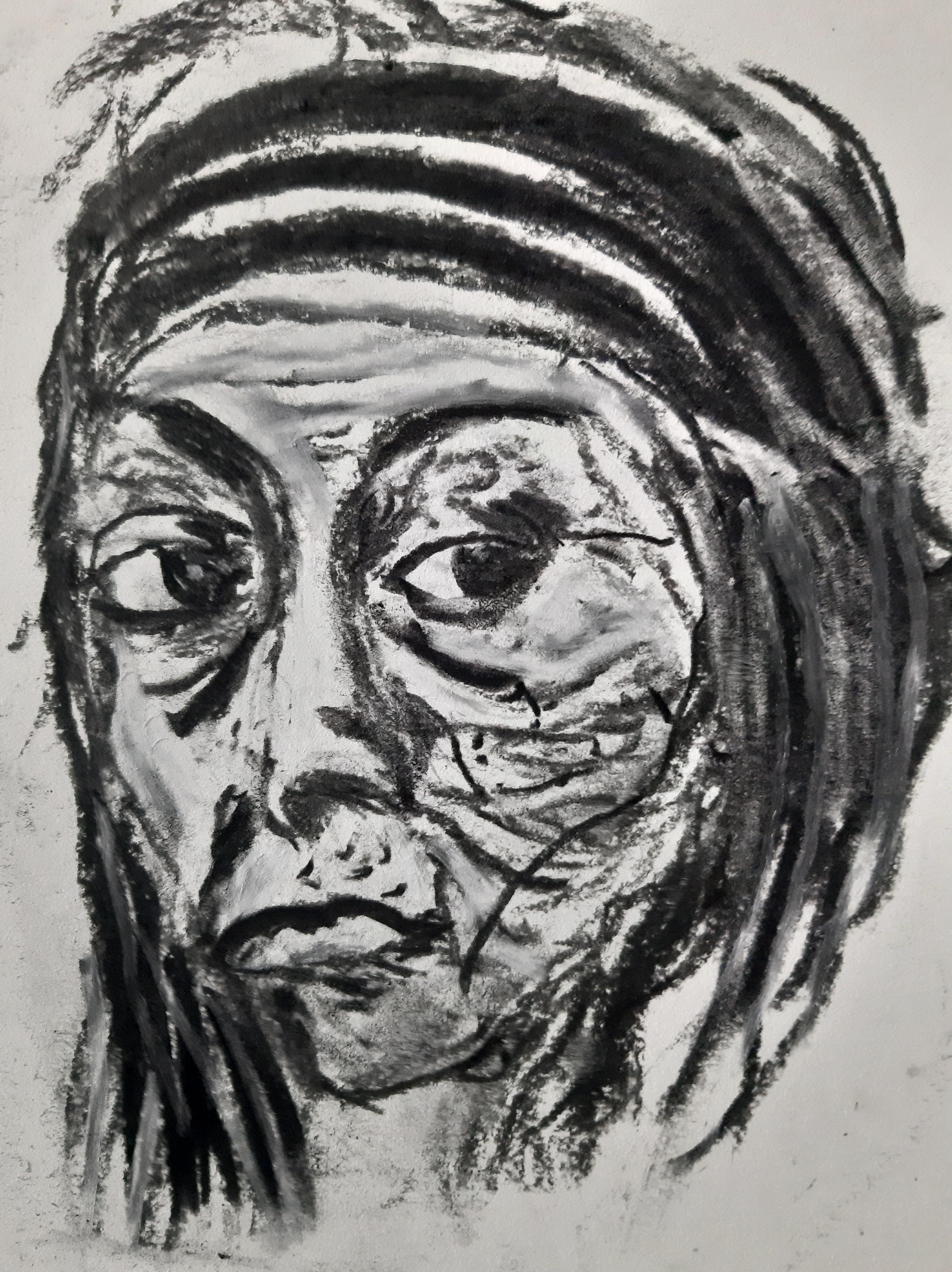 Portrait fusain expressionniste sur papier  cours de dessin