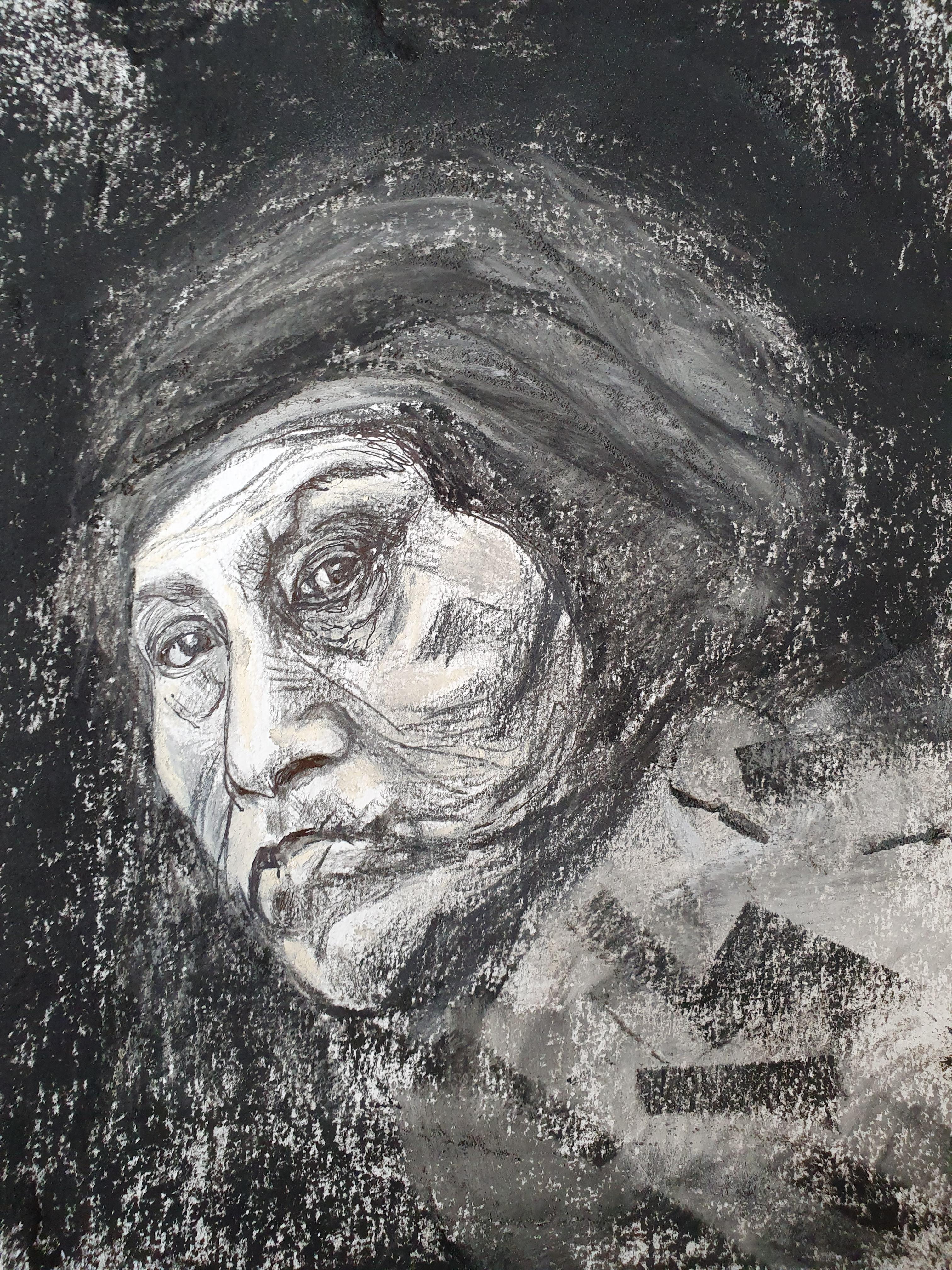 Portrait fusain sur papier femme  cours de dessin