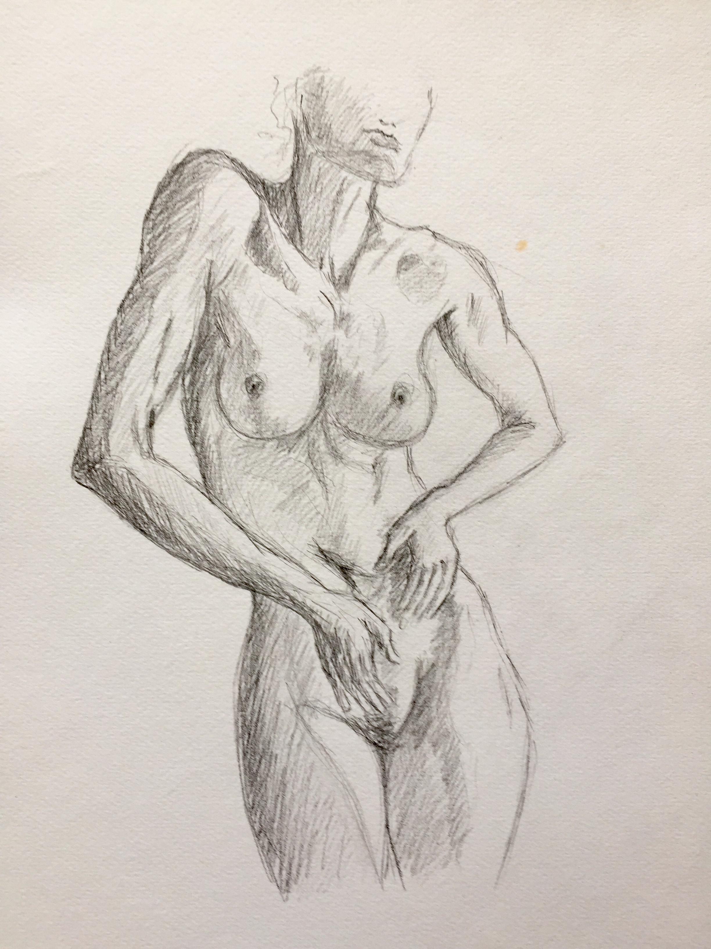 Dessin en valeur de gris buste femme graphite  cours de dessin