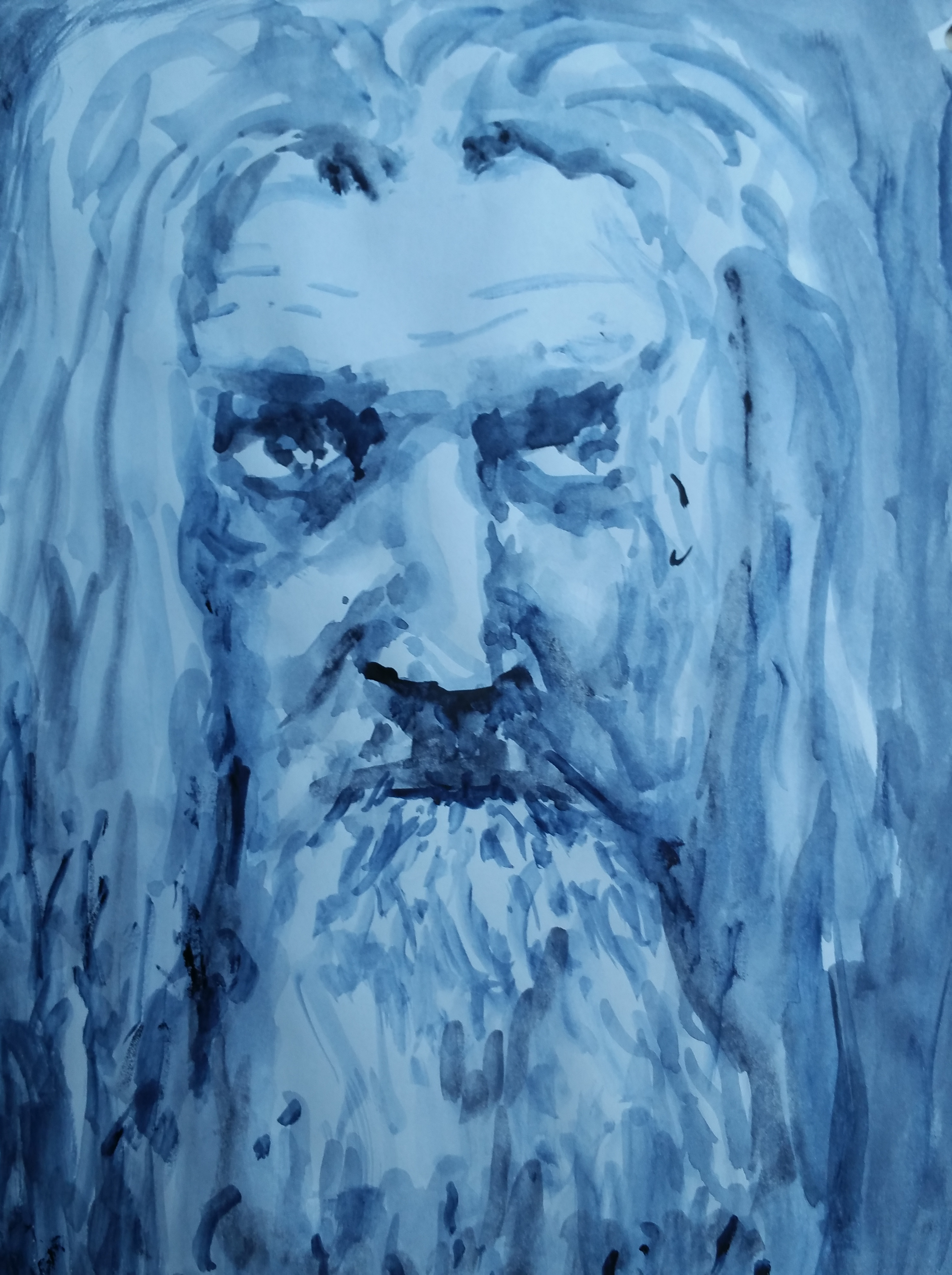 Portrait aquarelle bleu sur papier  cours de dessin