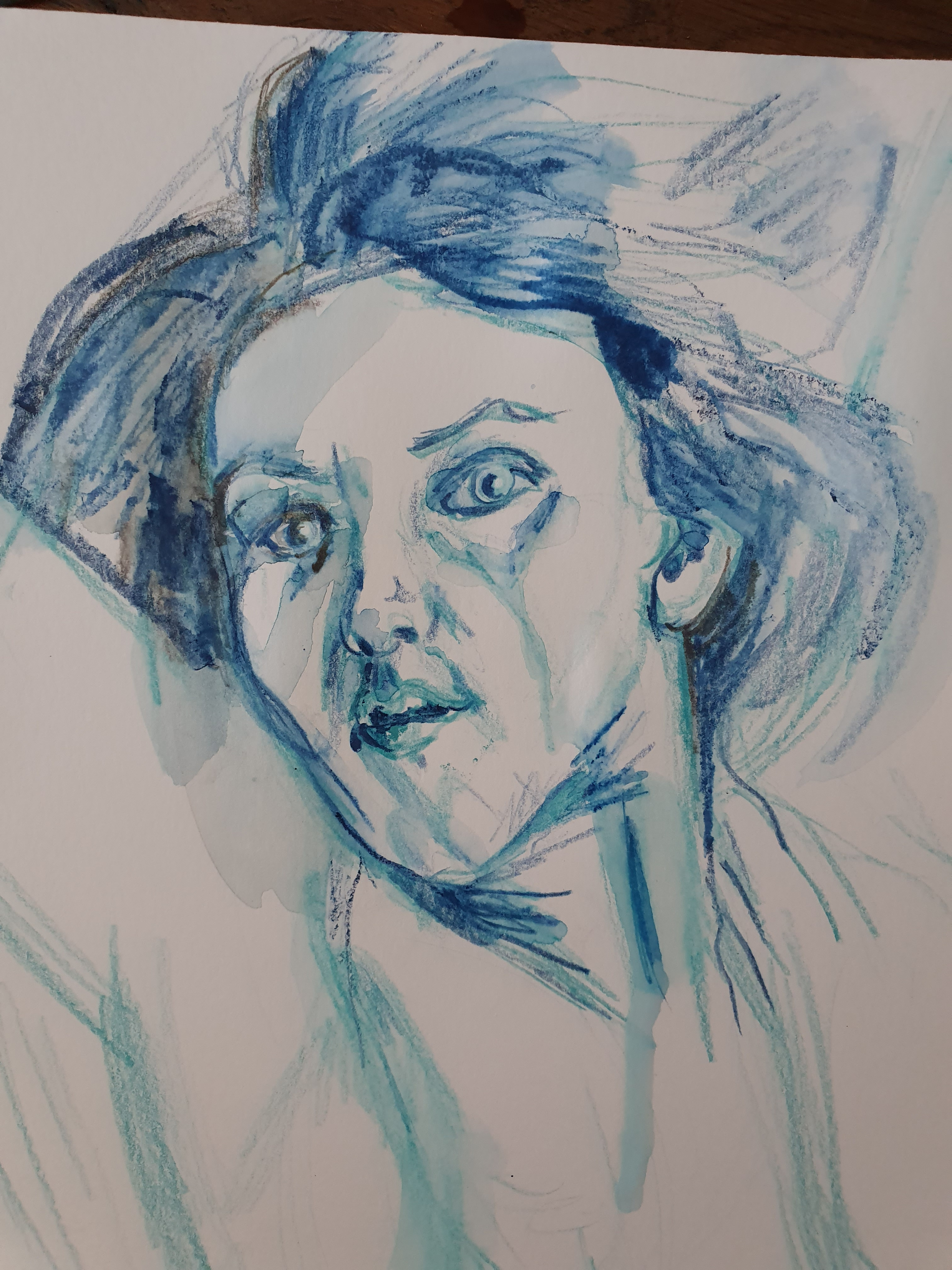 Portrait fusain aquarelle bleu  cours de dessin