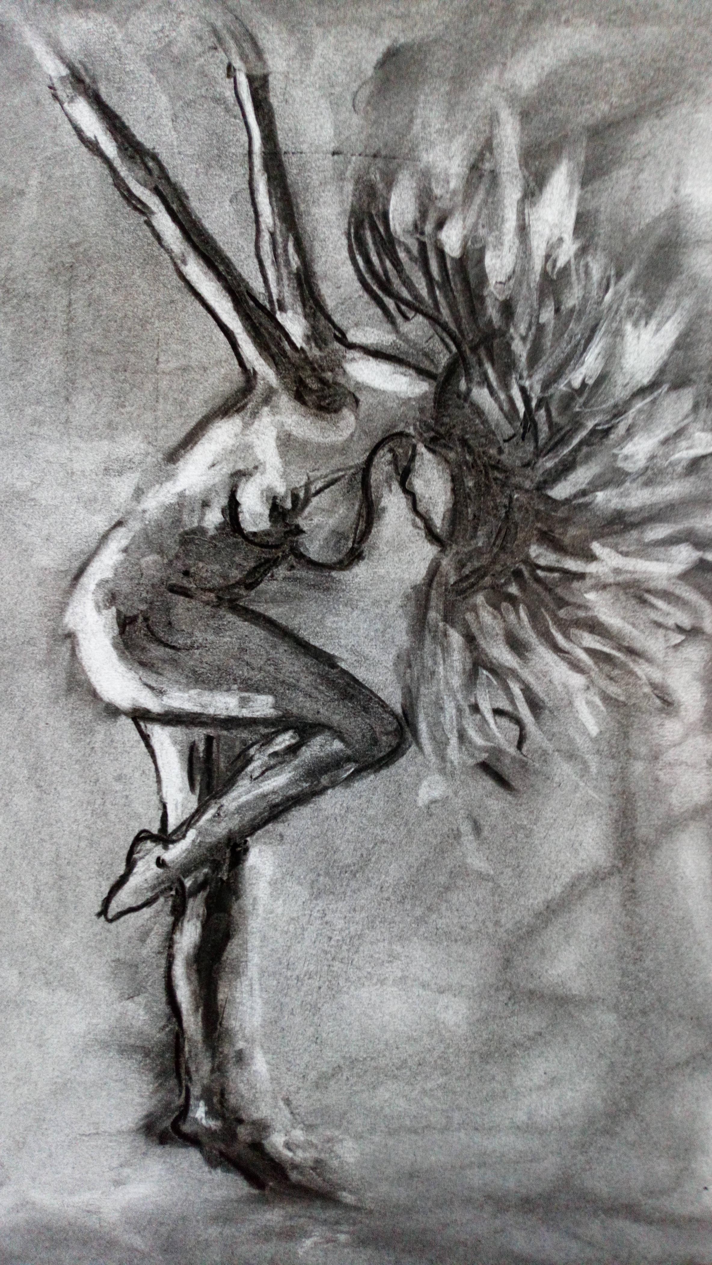 Dessin fusain sur papier chevelure  cours de dessin
