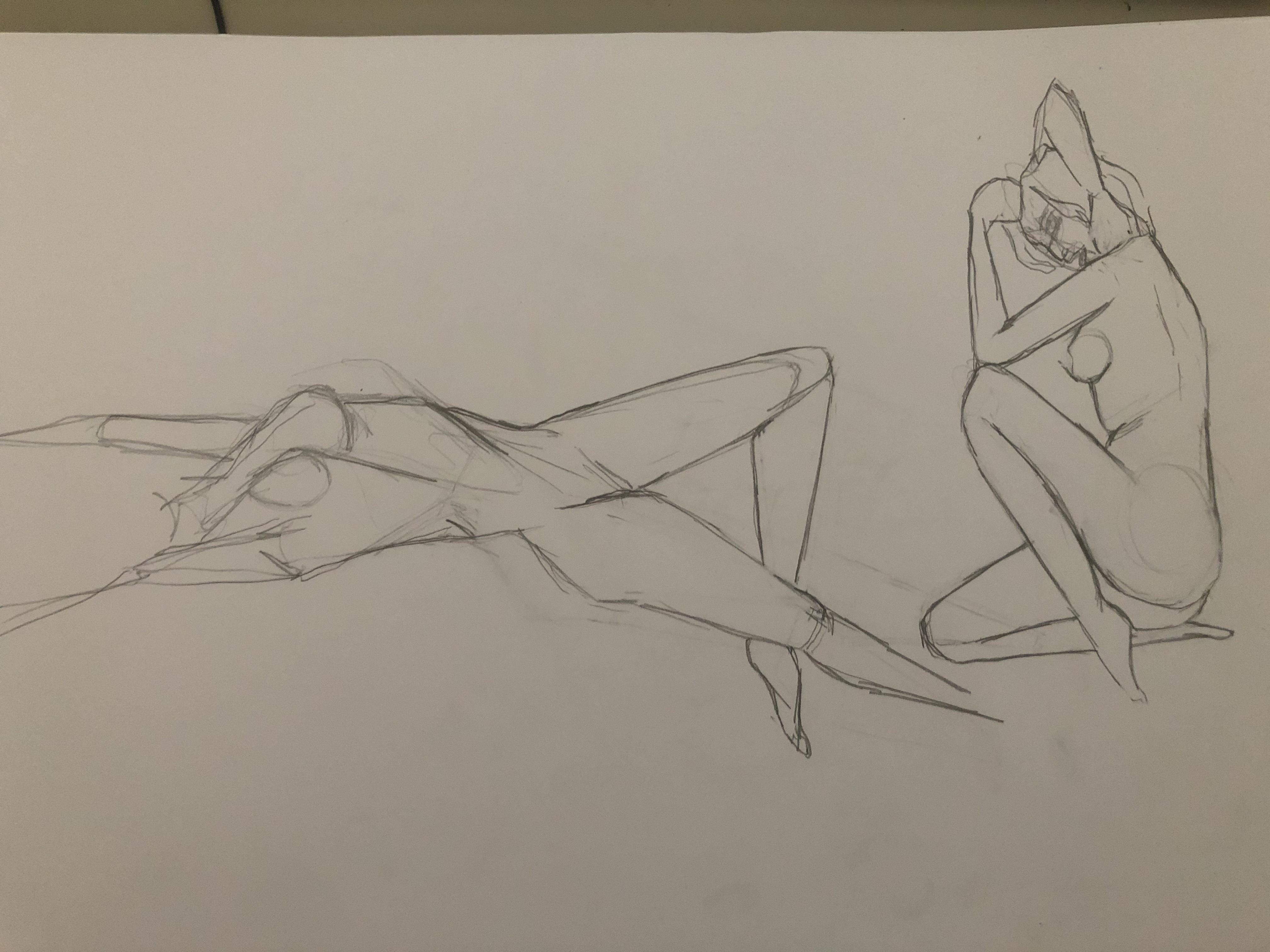 Esquisse rapide g�om�trique corps humain crayon de papier  cours de dessin