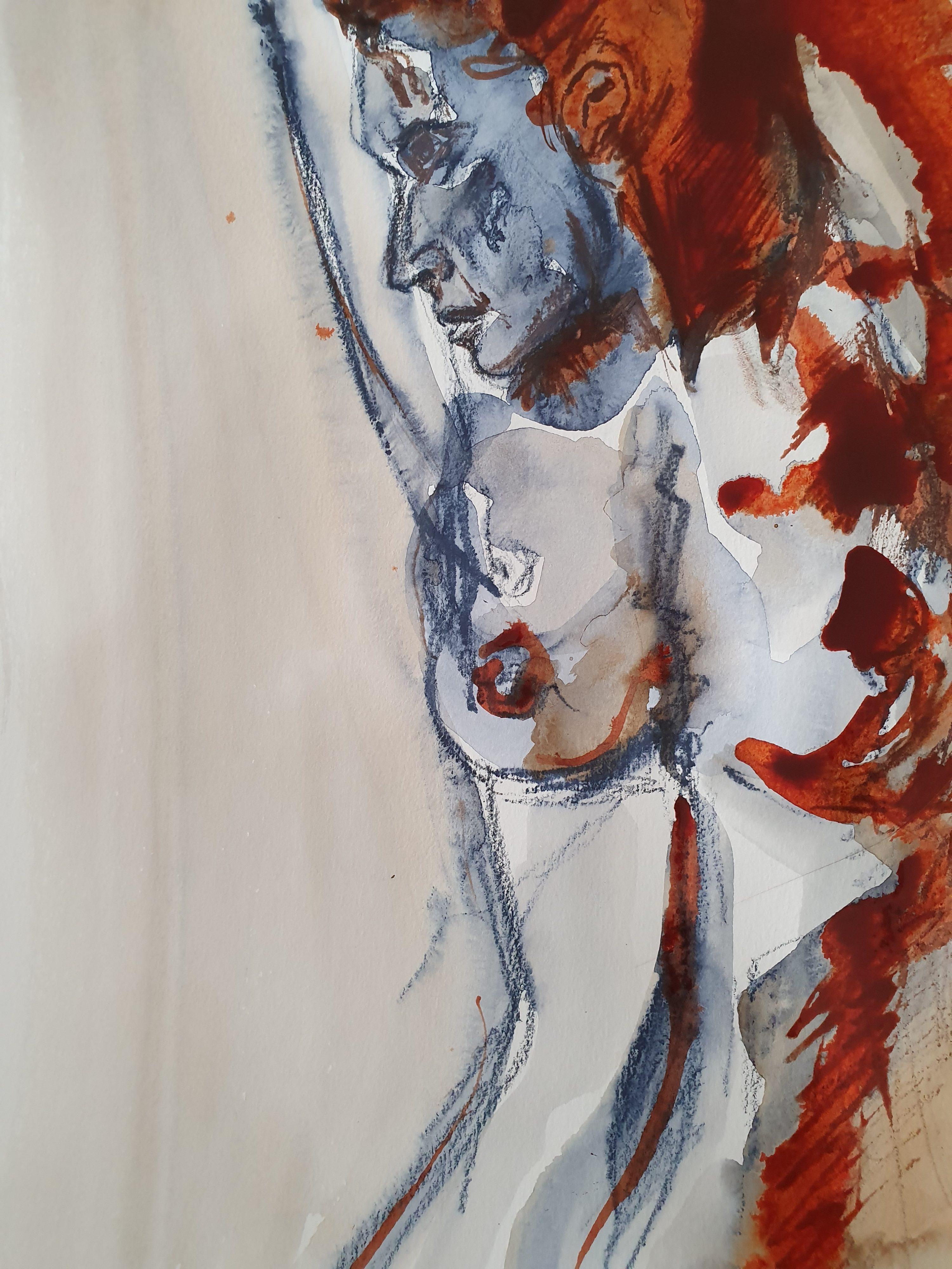 Dessin technique mixte aquarelle bleu blanc et rouge