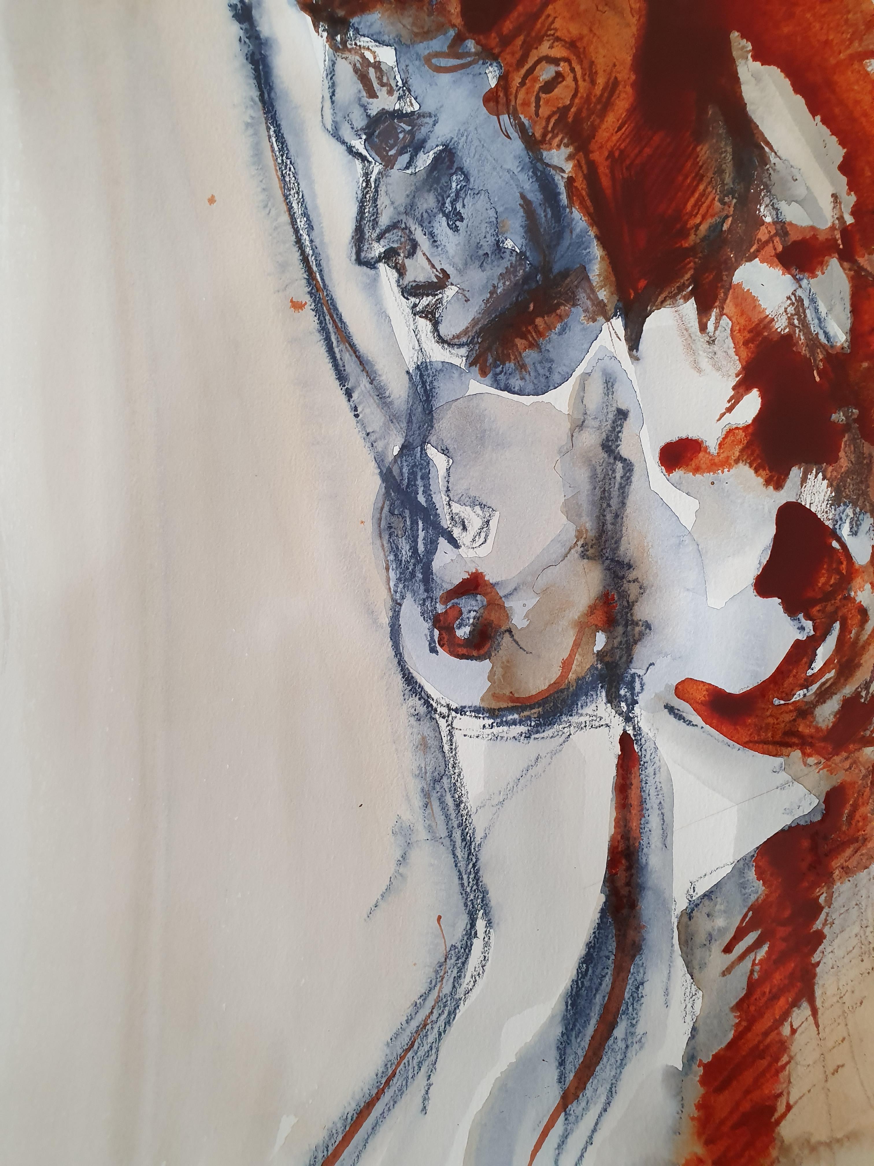 Dessin technique mixte aquarelle bleu blanc et rouge  cours de dessin