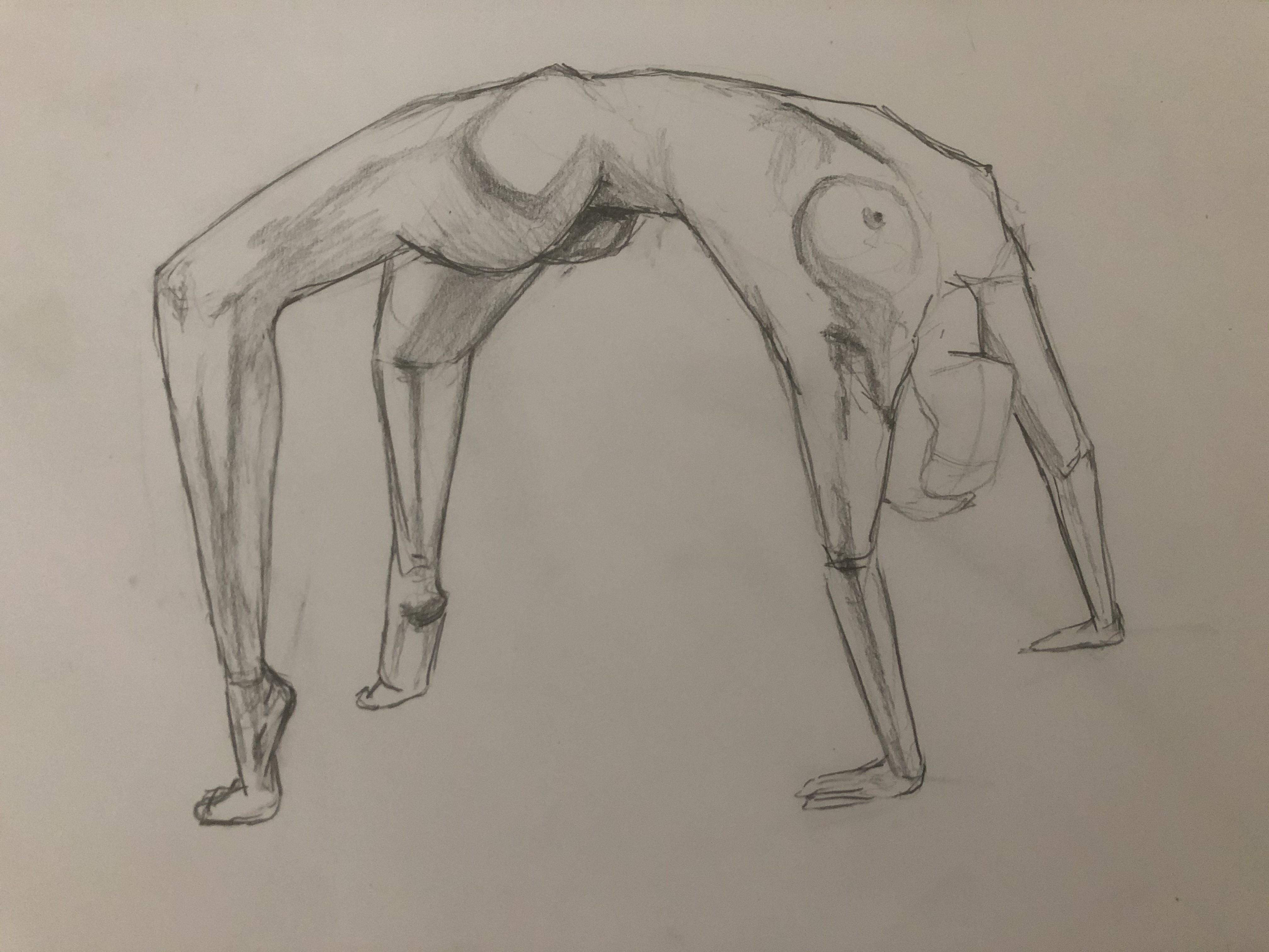 Dessin crayon papier poses acrobatiques  cours de dessin