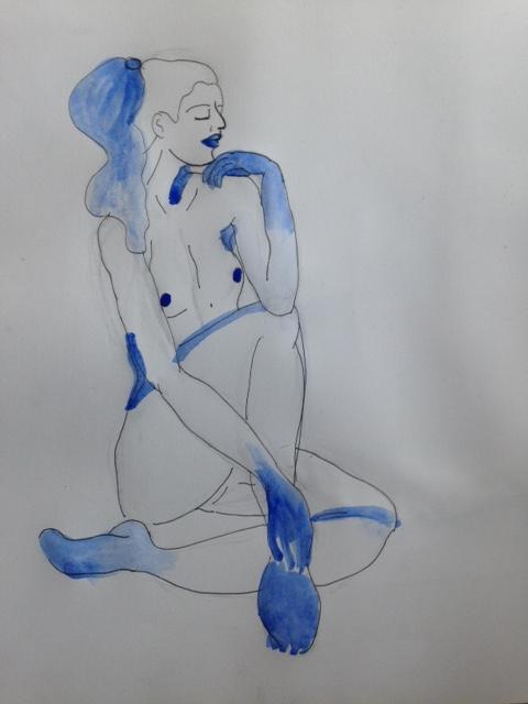 Croquis bleu corps  encre et crayon  cours de dessin