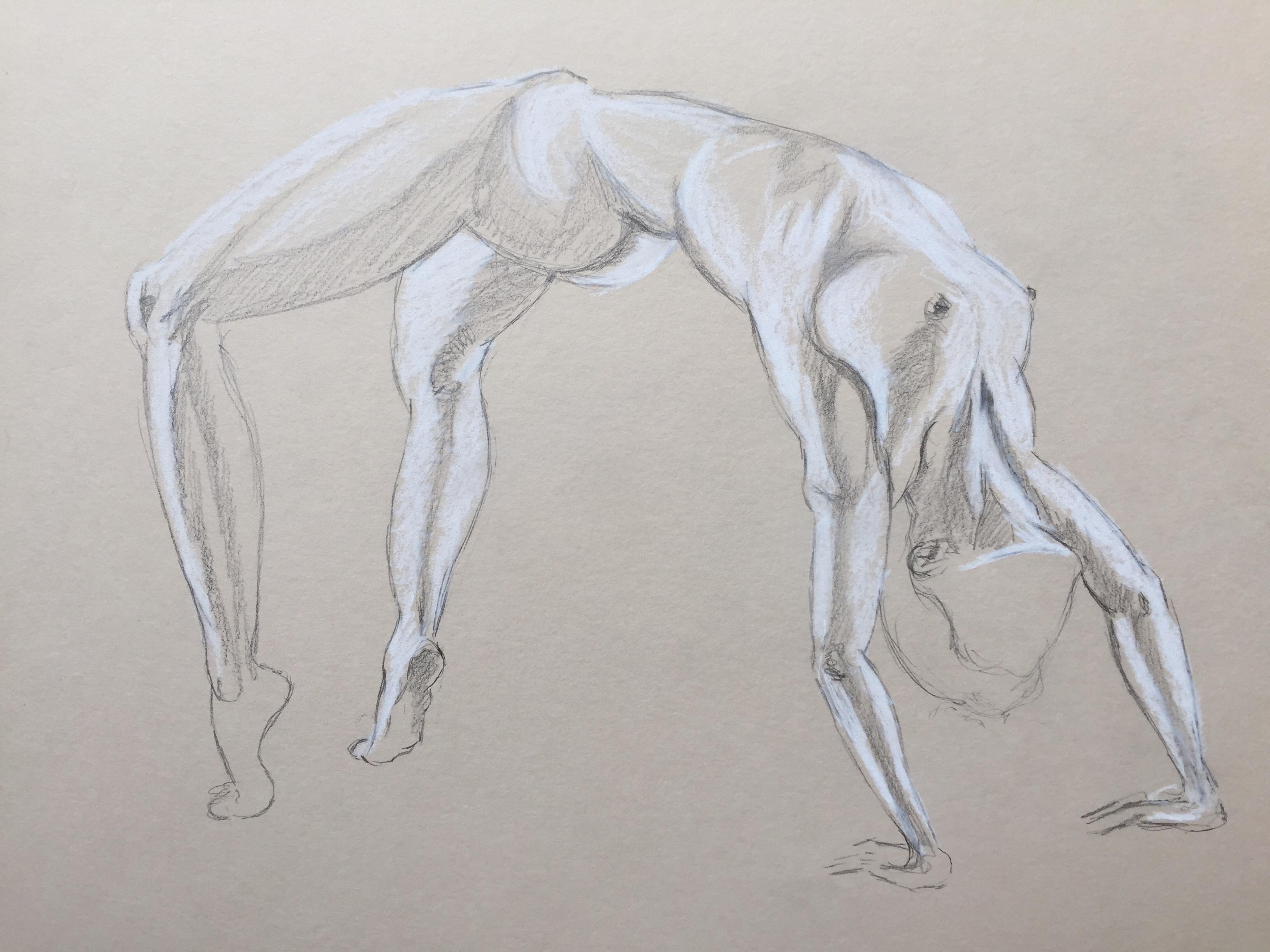 Craie blanche graphite sur papier recycl�  cours de dessin