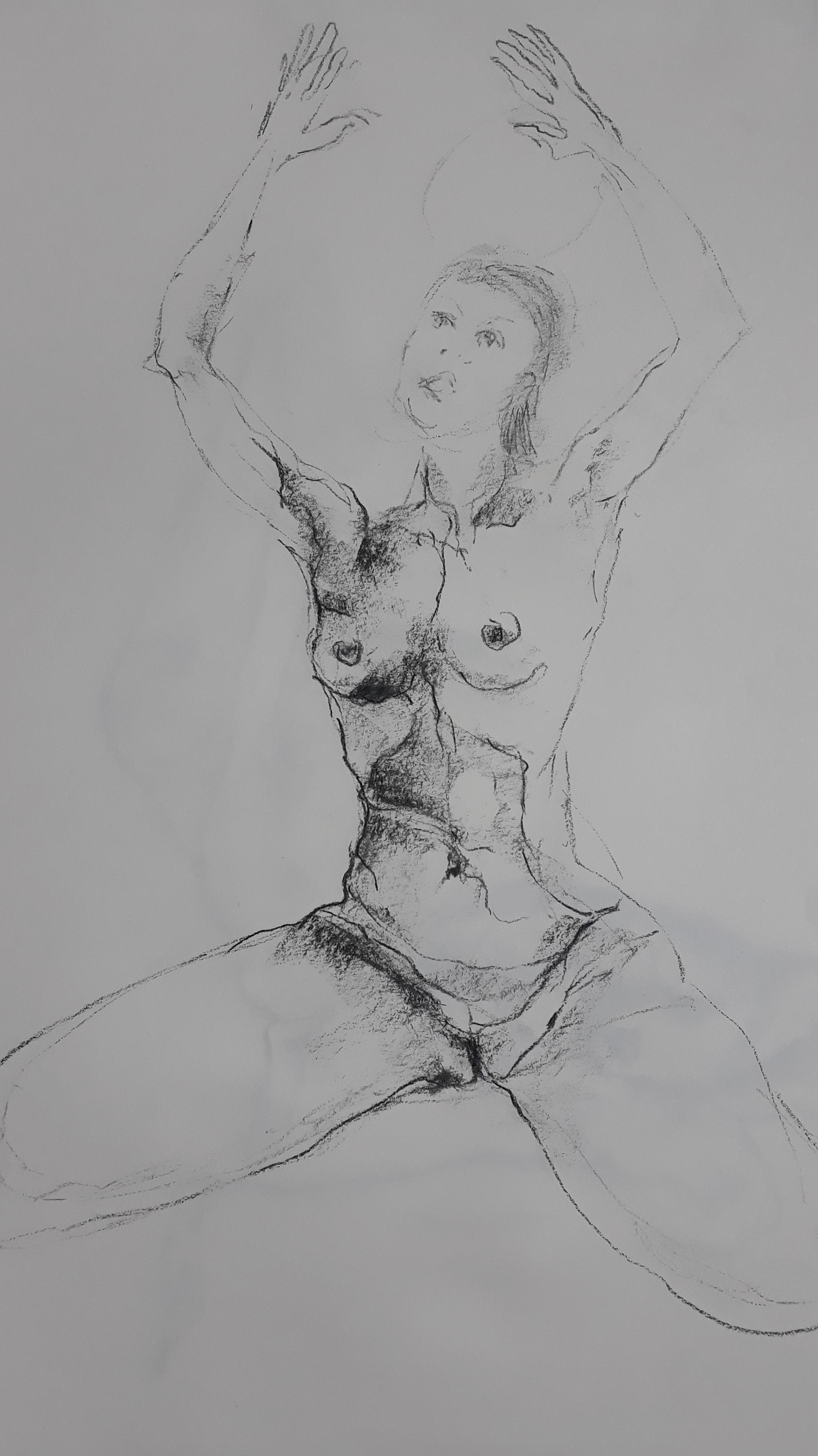 buste feme esquisse fusain sur papier  cours de dessin