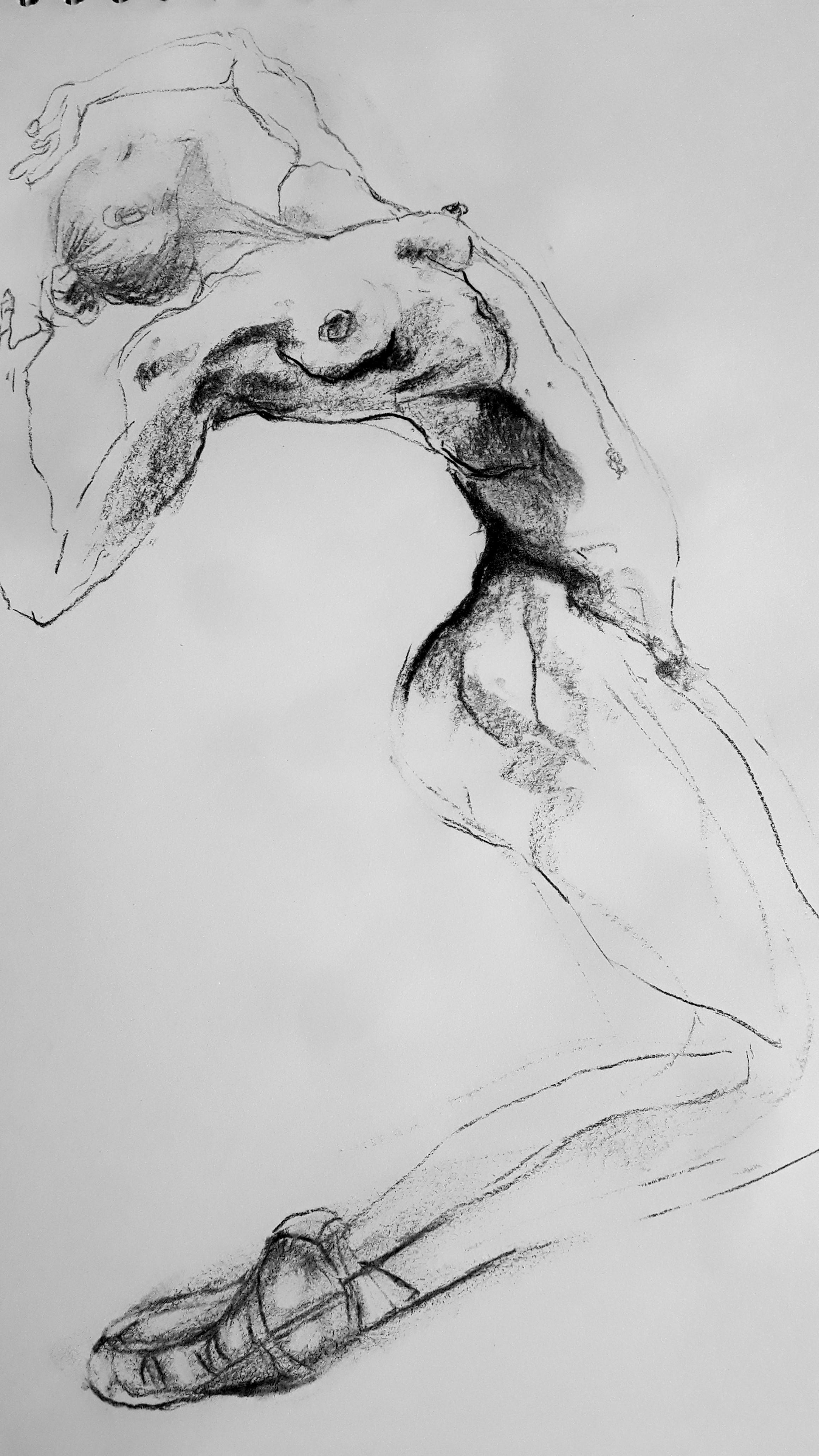 dessin danceuse fusain sur papier  cours de dessin