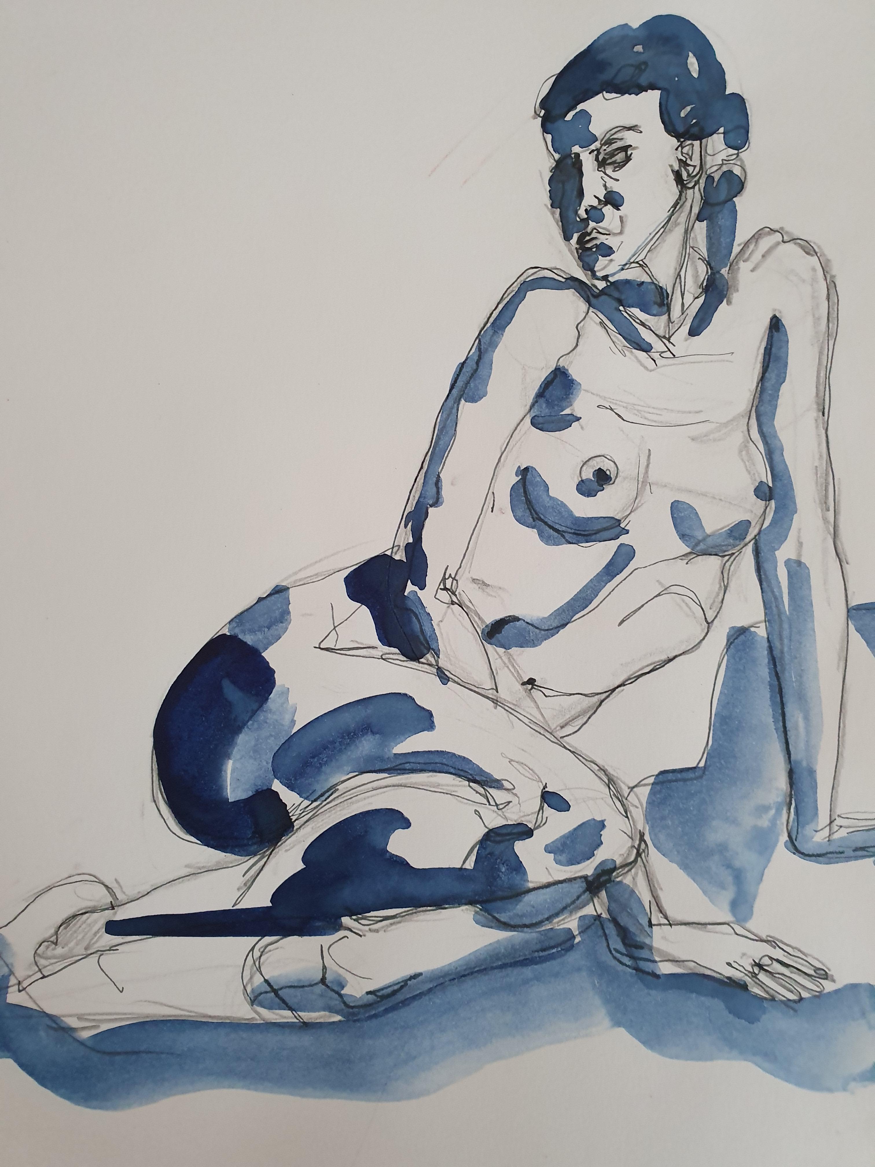 croquis nu assis bleu aquarelle  cours de dessin