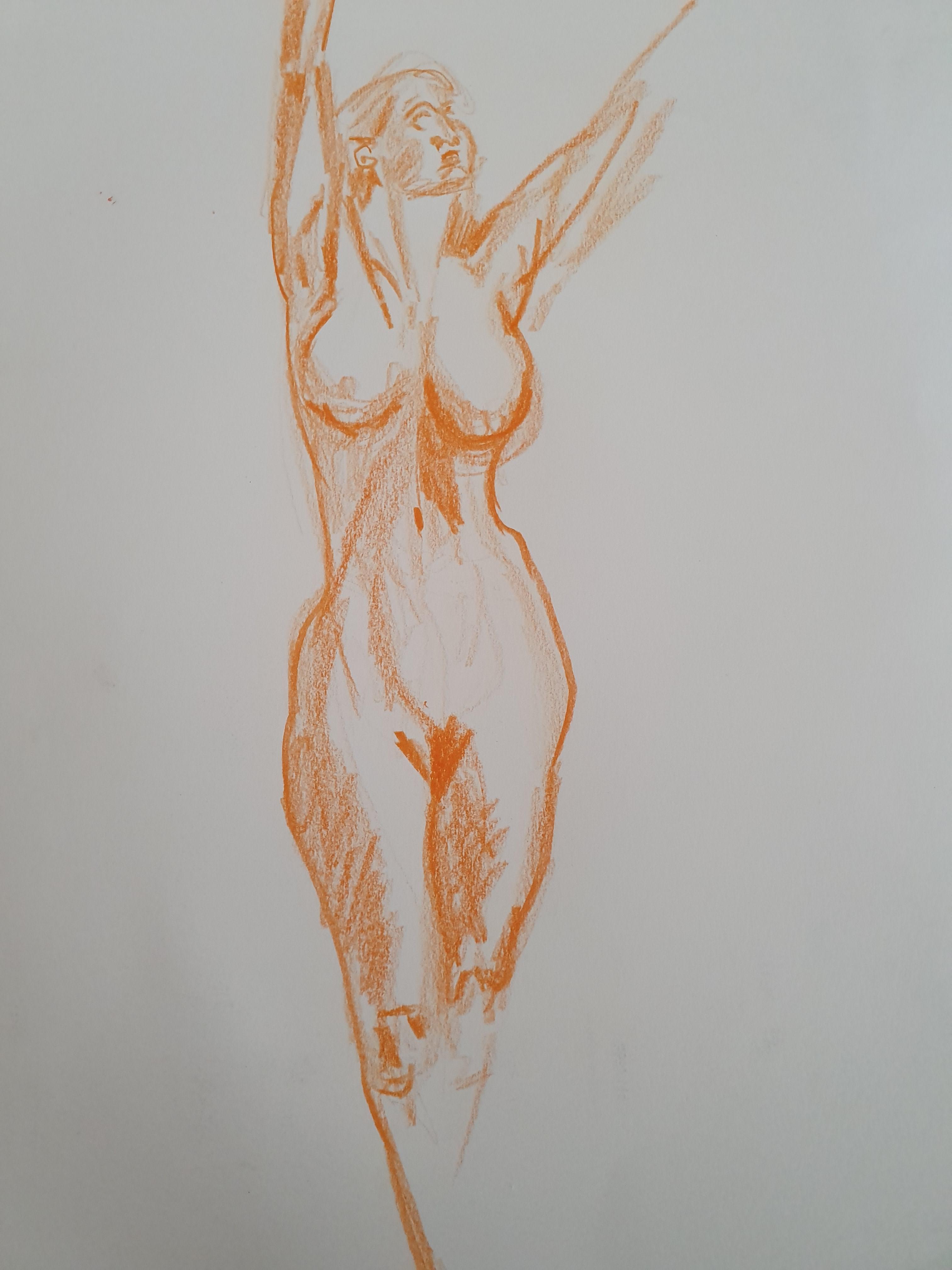 croquis crayon de couleur orange  cours de dessin