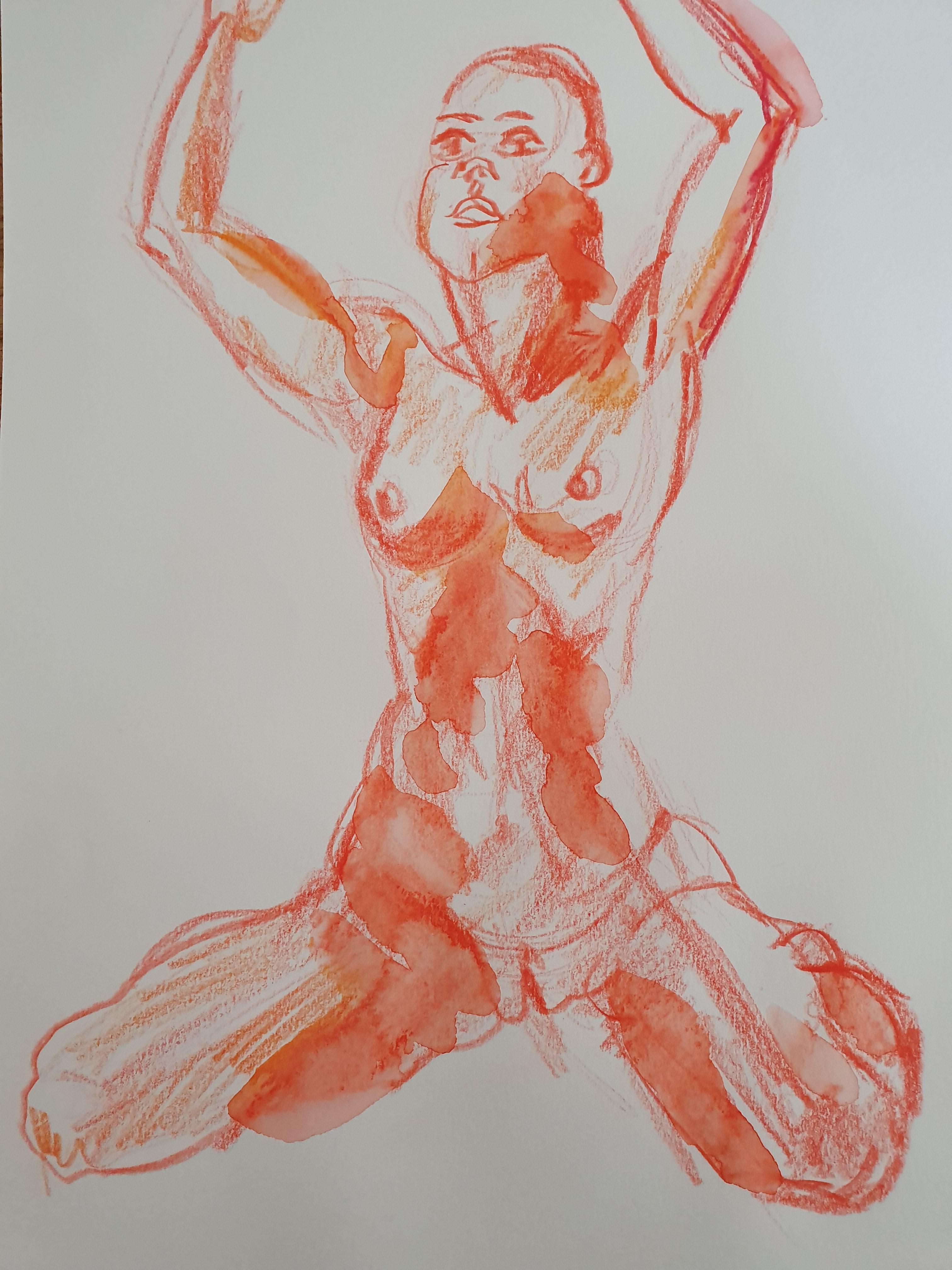 dessin crayons aquarelleisable orange   cours de dessin