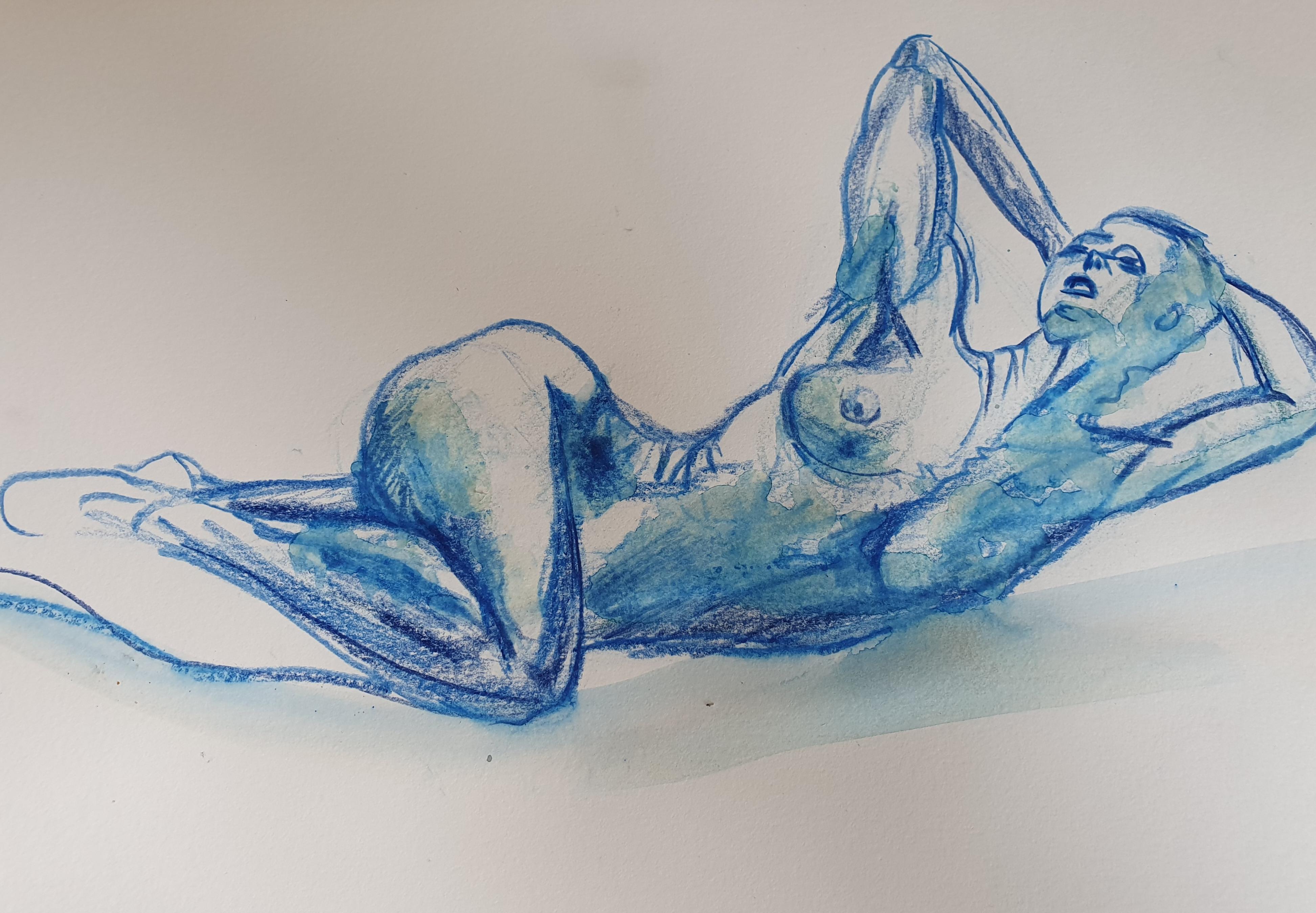 croquis de nu bleu allong�   cours de dessin