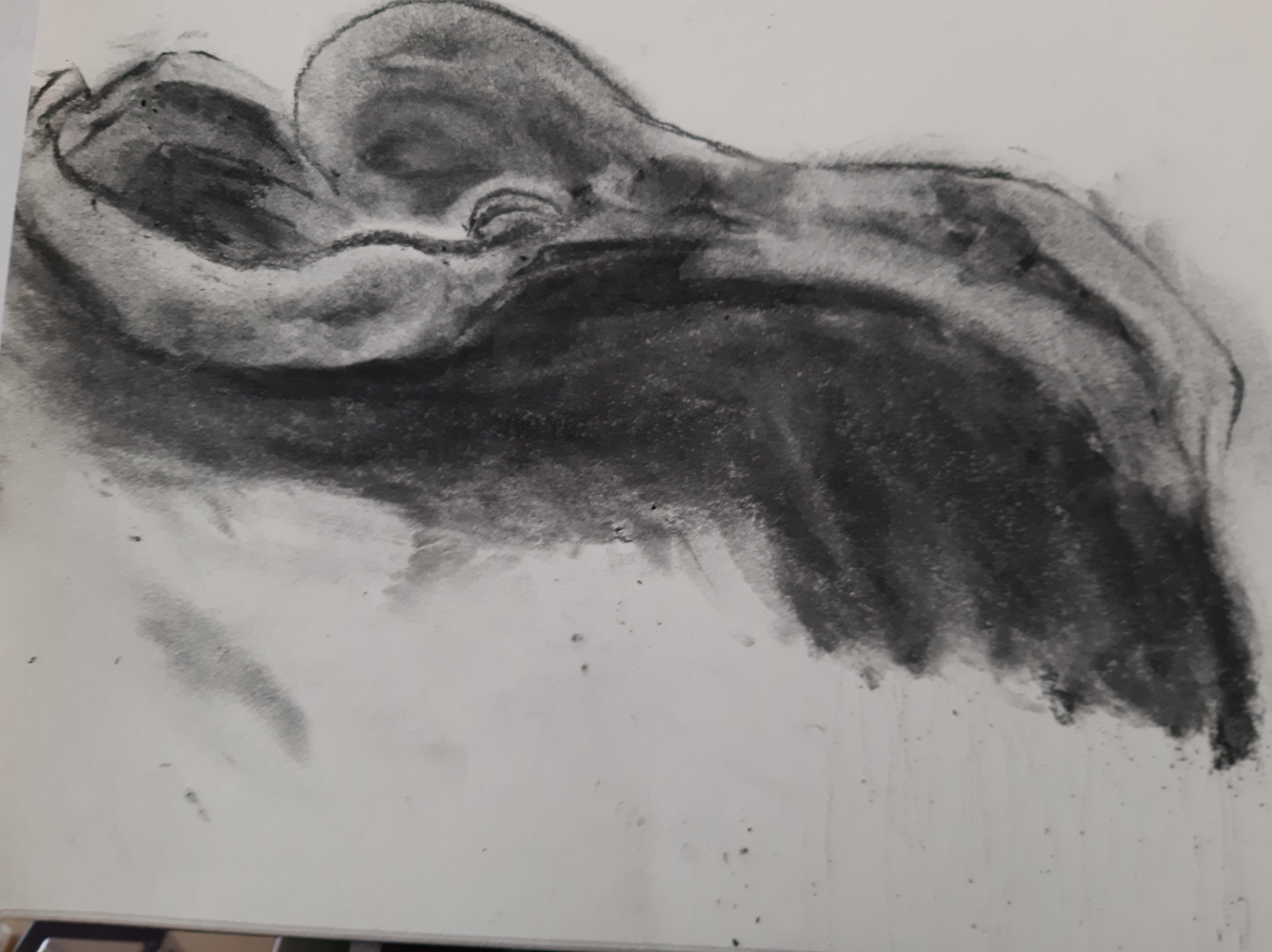 fusain dessin dos mod�le sur papier  cours de dessin