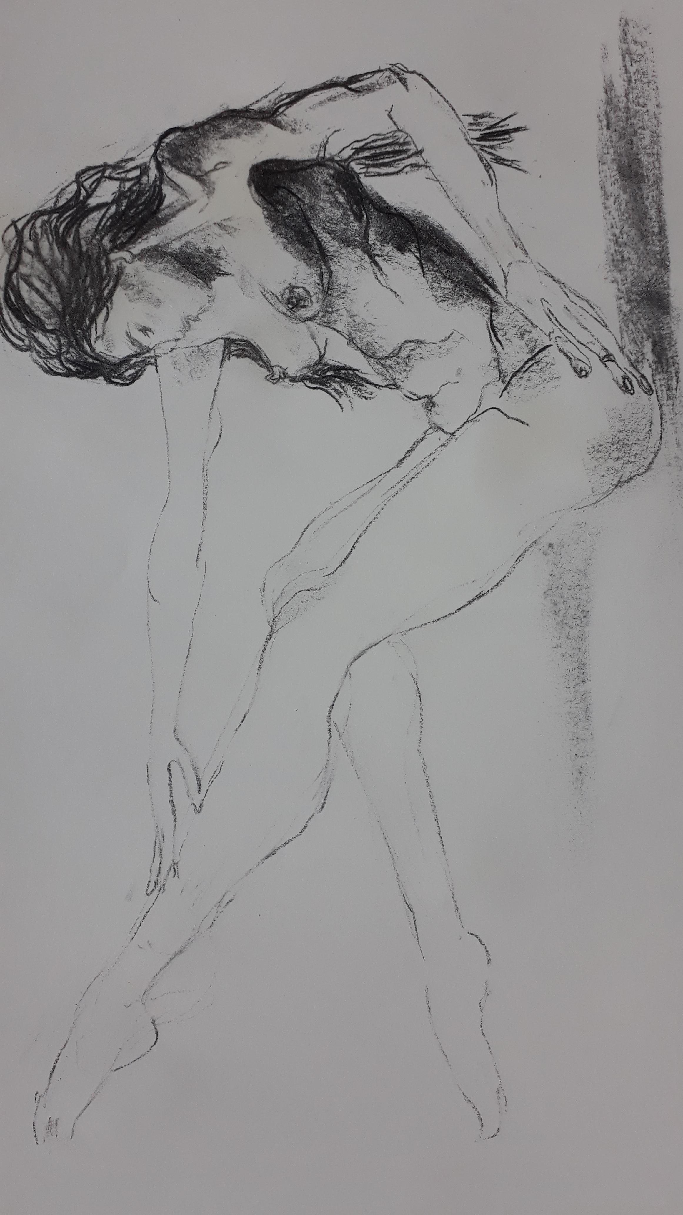 dessin rapide fusain sur papier corps femme  cours de dessin