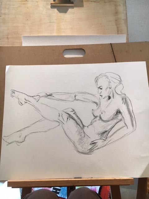 Dessin mod�le vivant format raisin fusain sur papier  cours de dessin