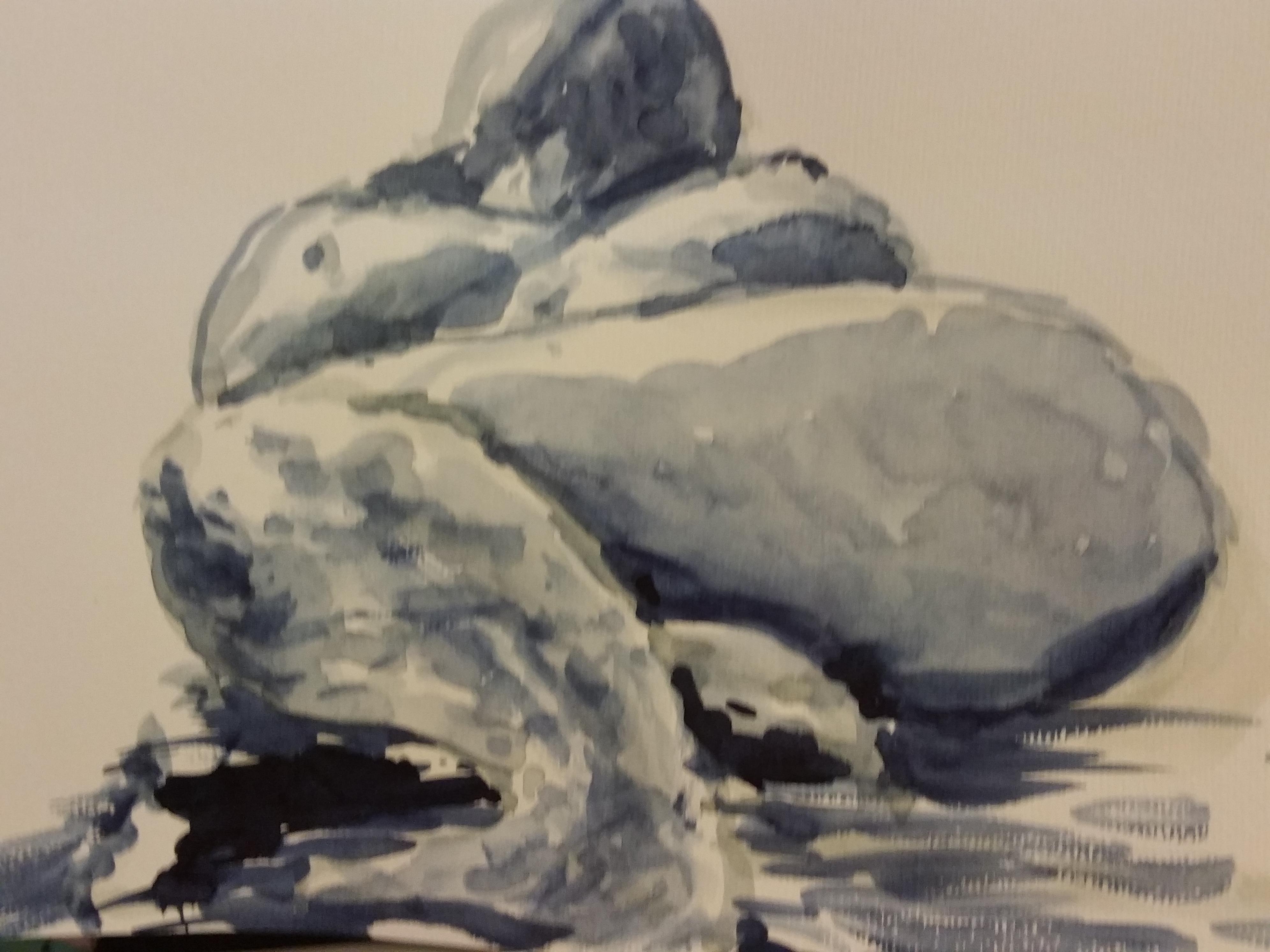 Aquarelle mod�le vivant allong� Monochrome  cours de dessin