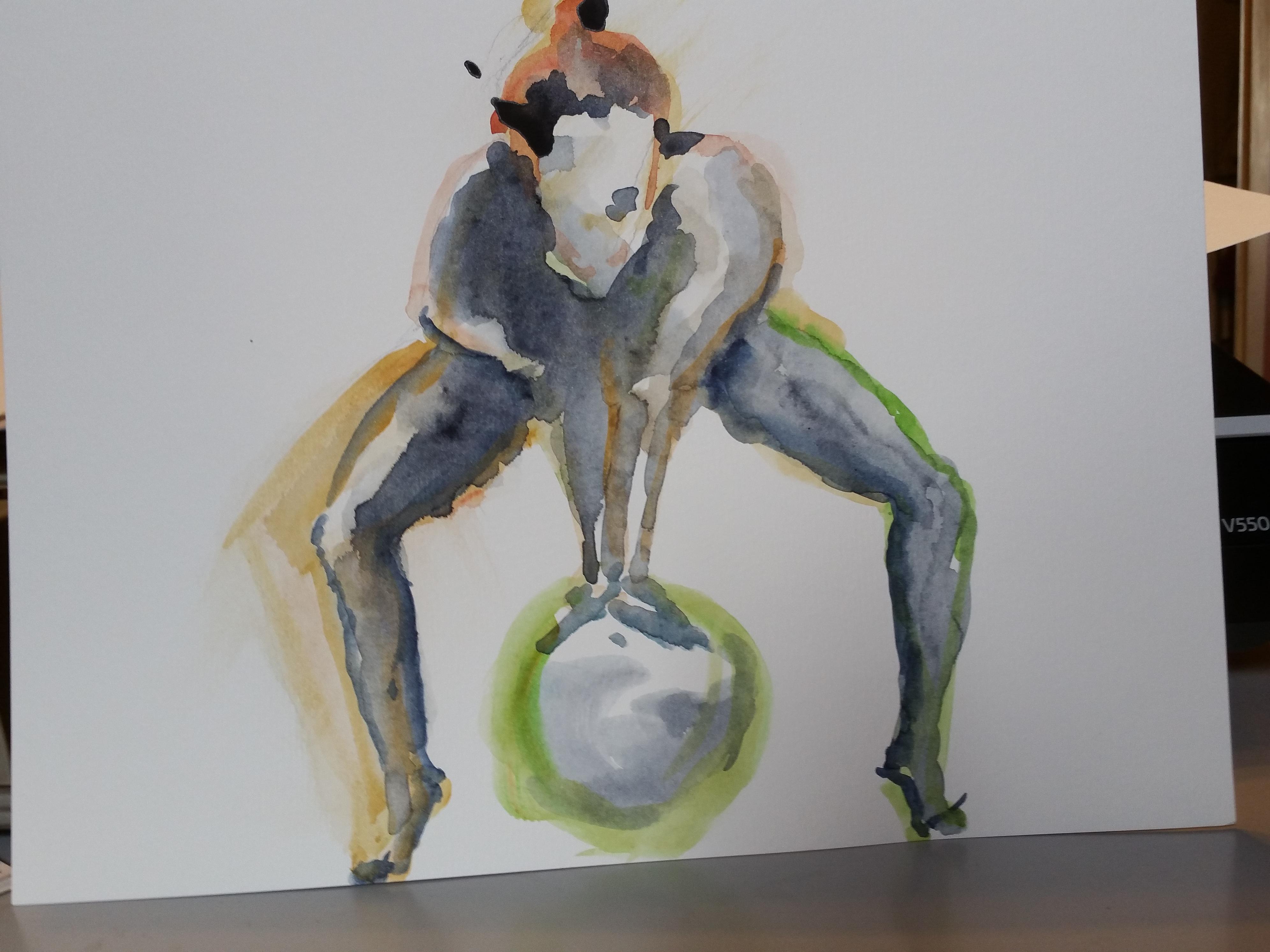 Aquarelle pose dynamique boule  cours de dessin