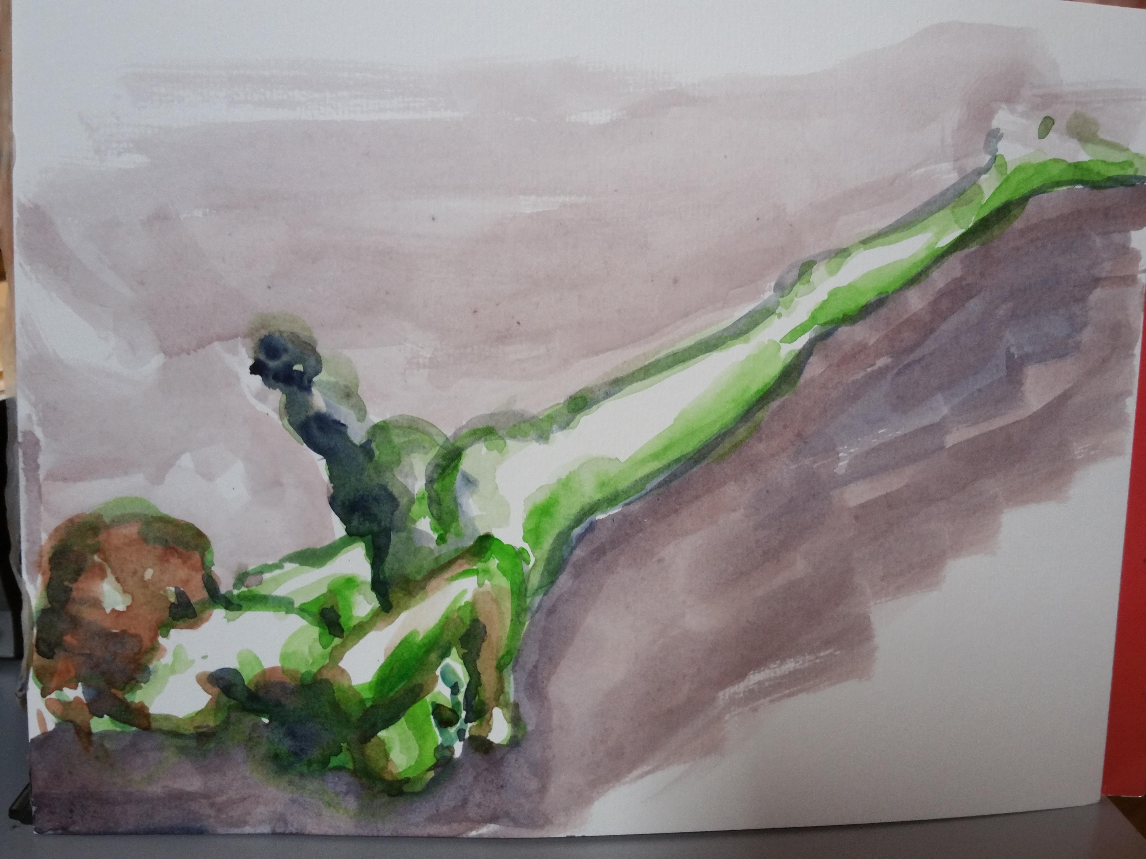 Aquarelles mod�le vert   cours de dessin