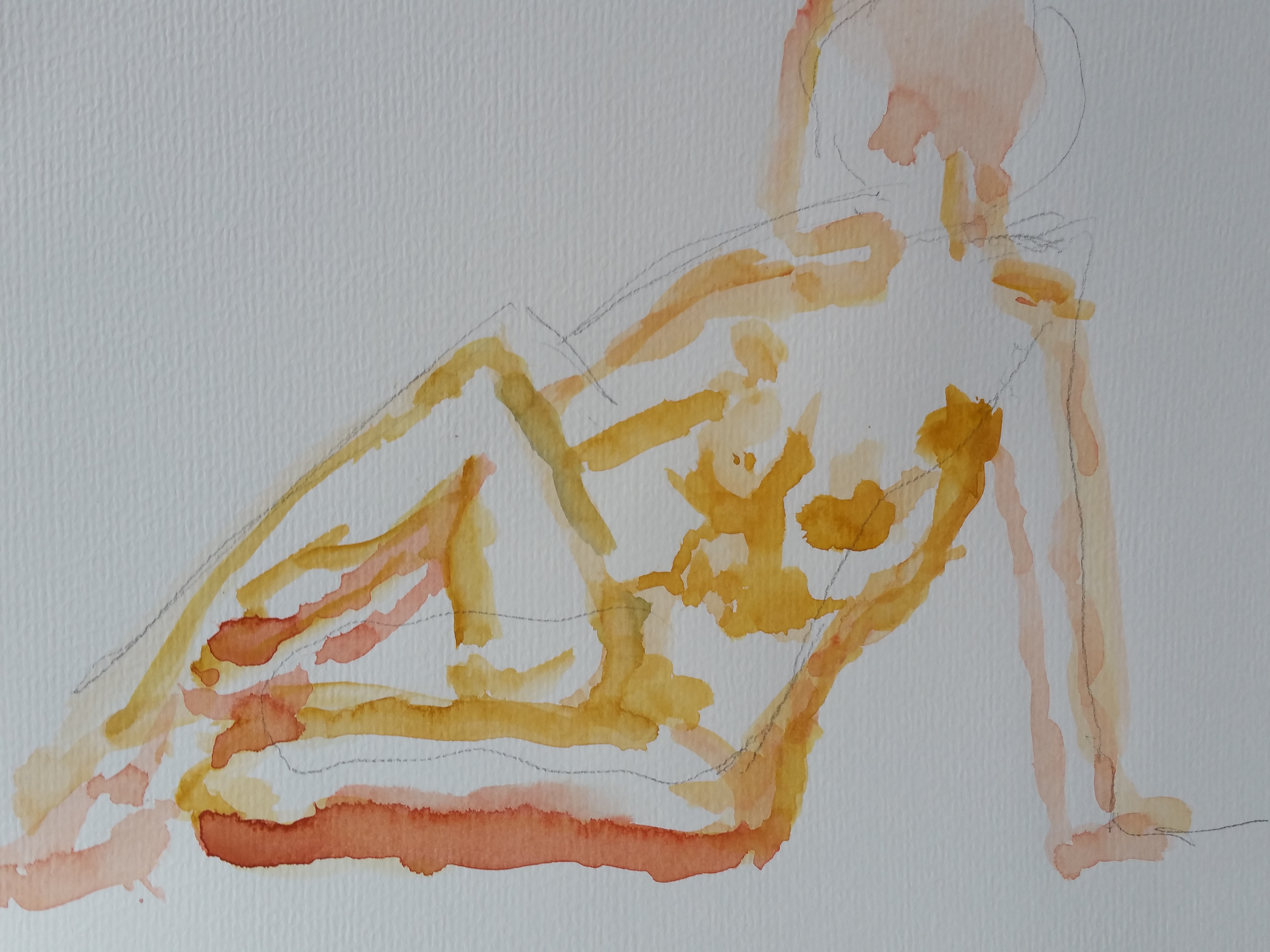 Esquisse aquarelle jaune et orange poses assise  cours de dessin