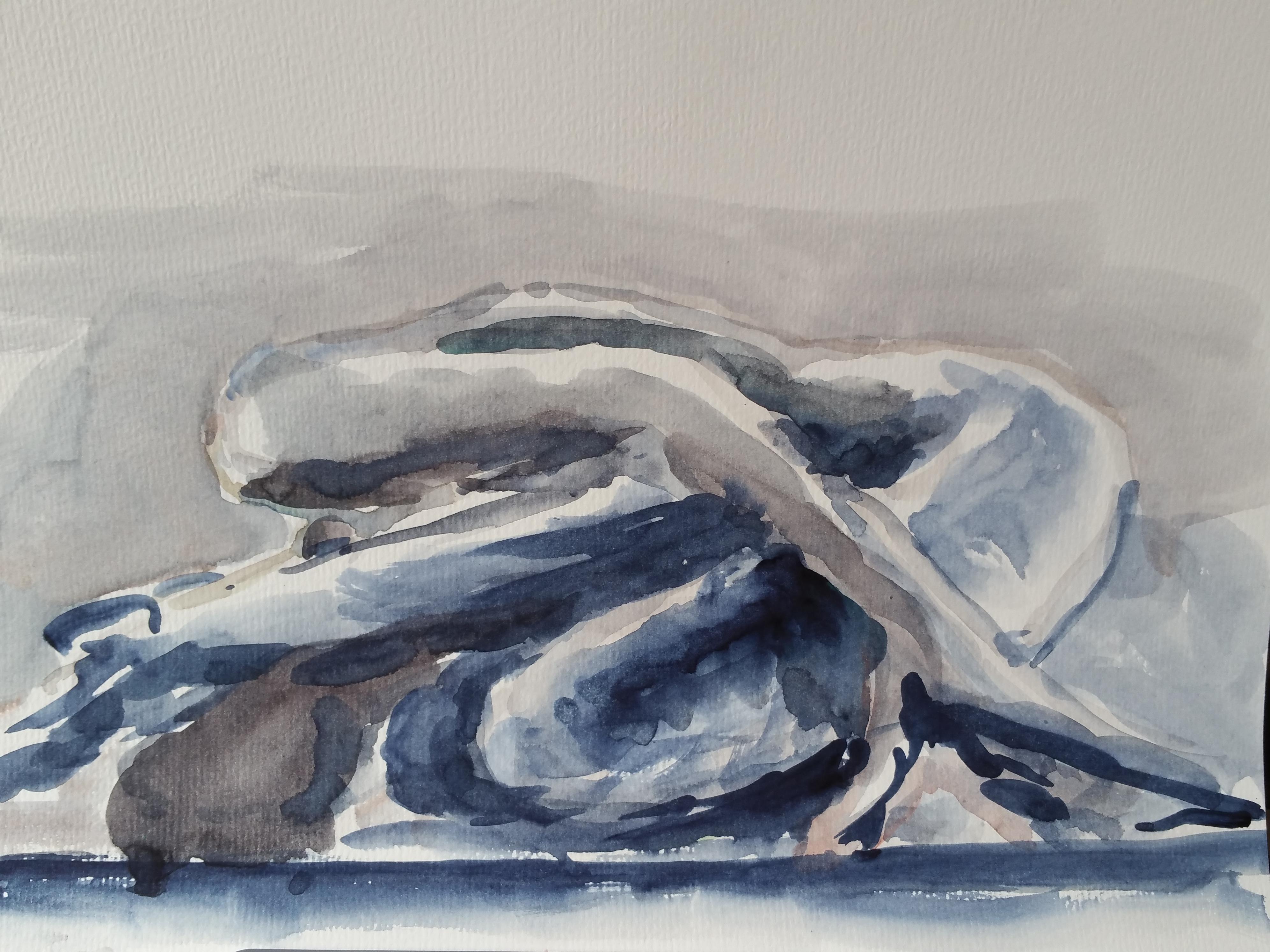 Aquarelle bleue et grise pose group�e  cours de dessin