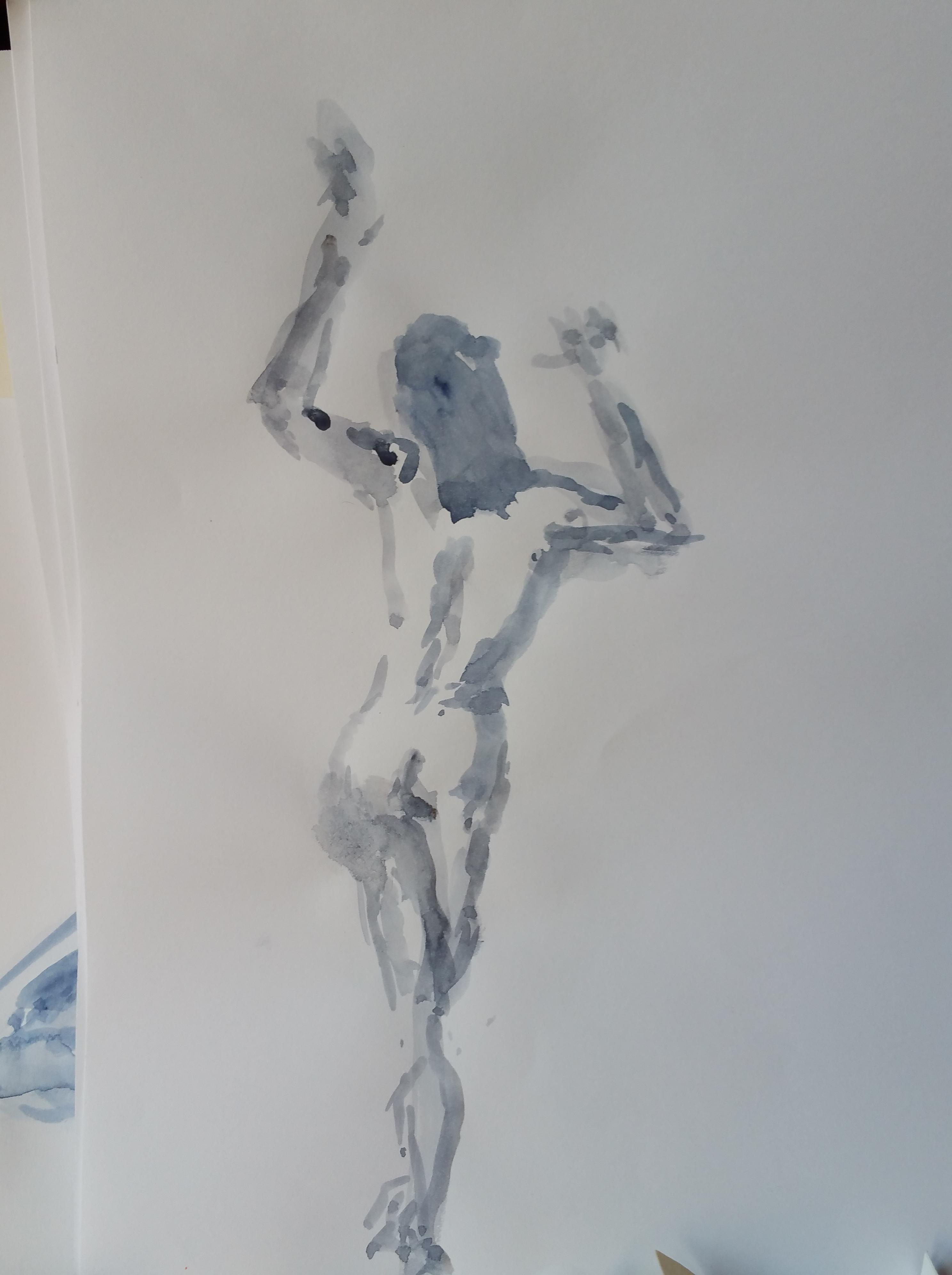 Aquarelles monochromes pose de dos  cours de dessin