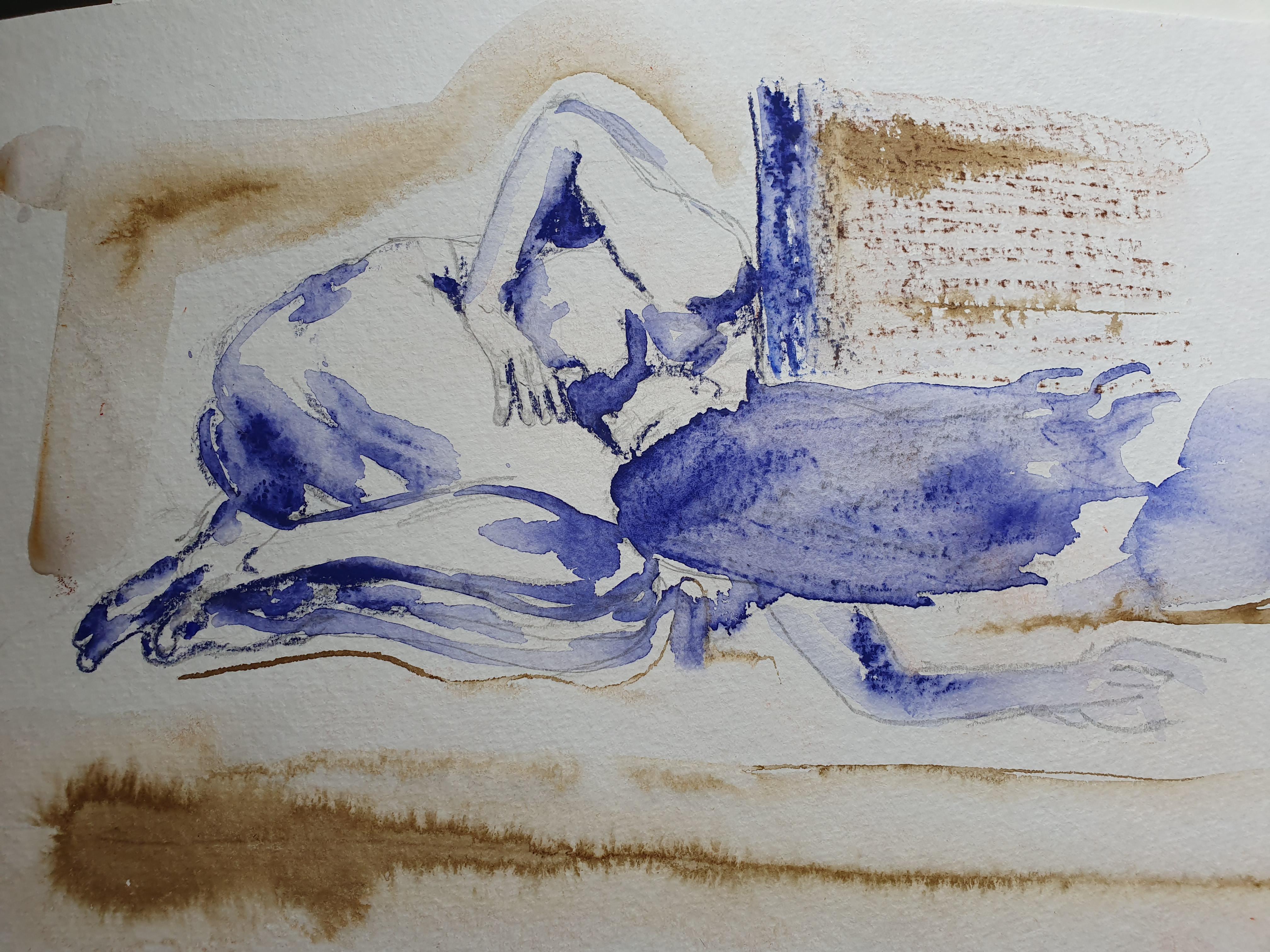 Aquarelle bleue mod�le vivant  cours de dessin