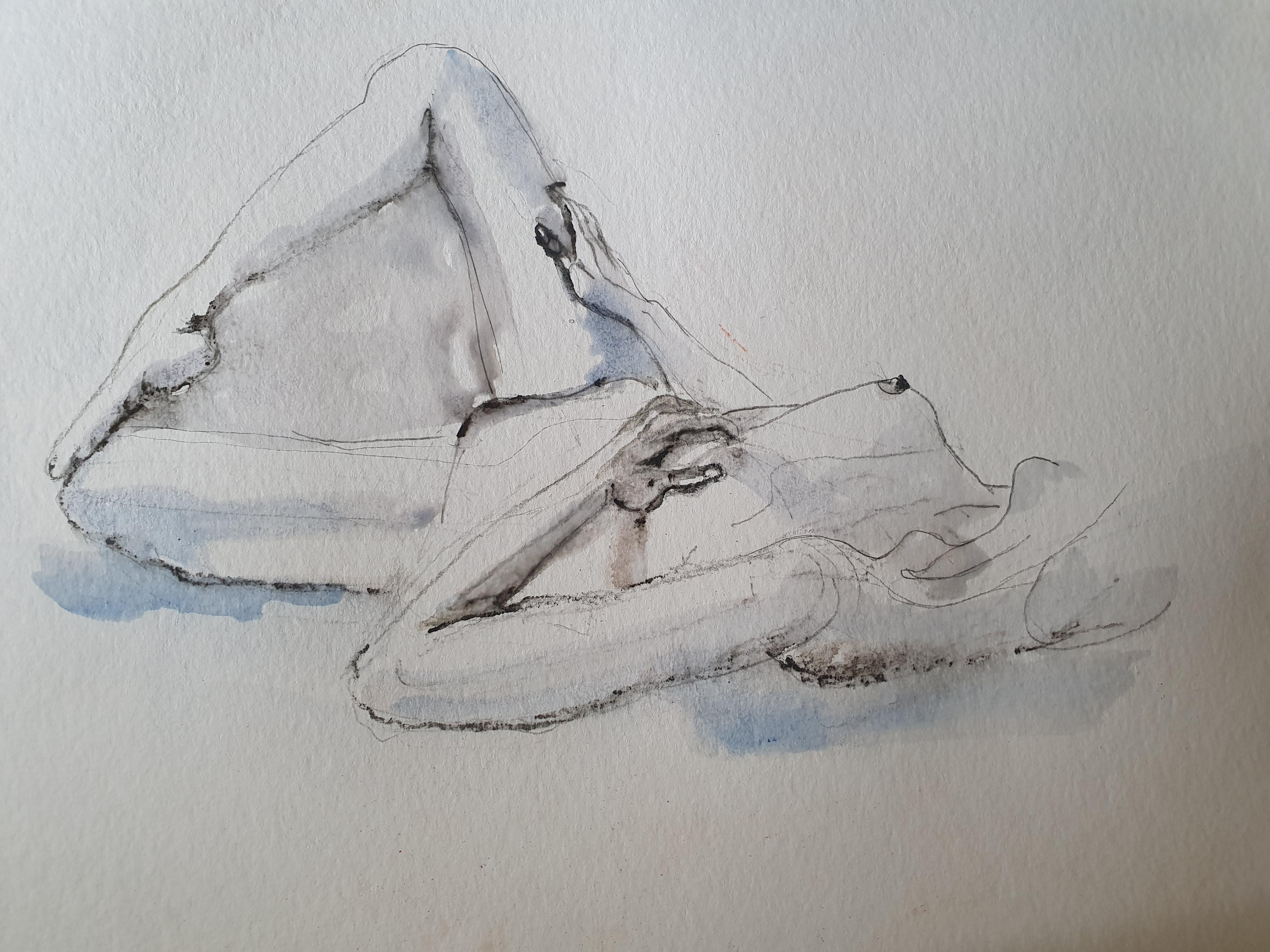 Aquarelle et fusain modèle vivant allongé  cours de dessin