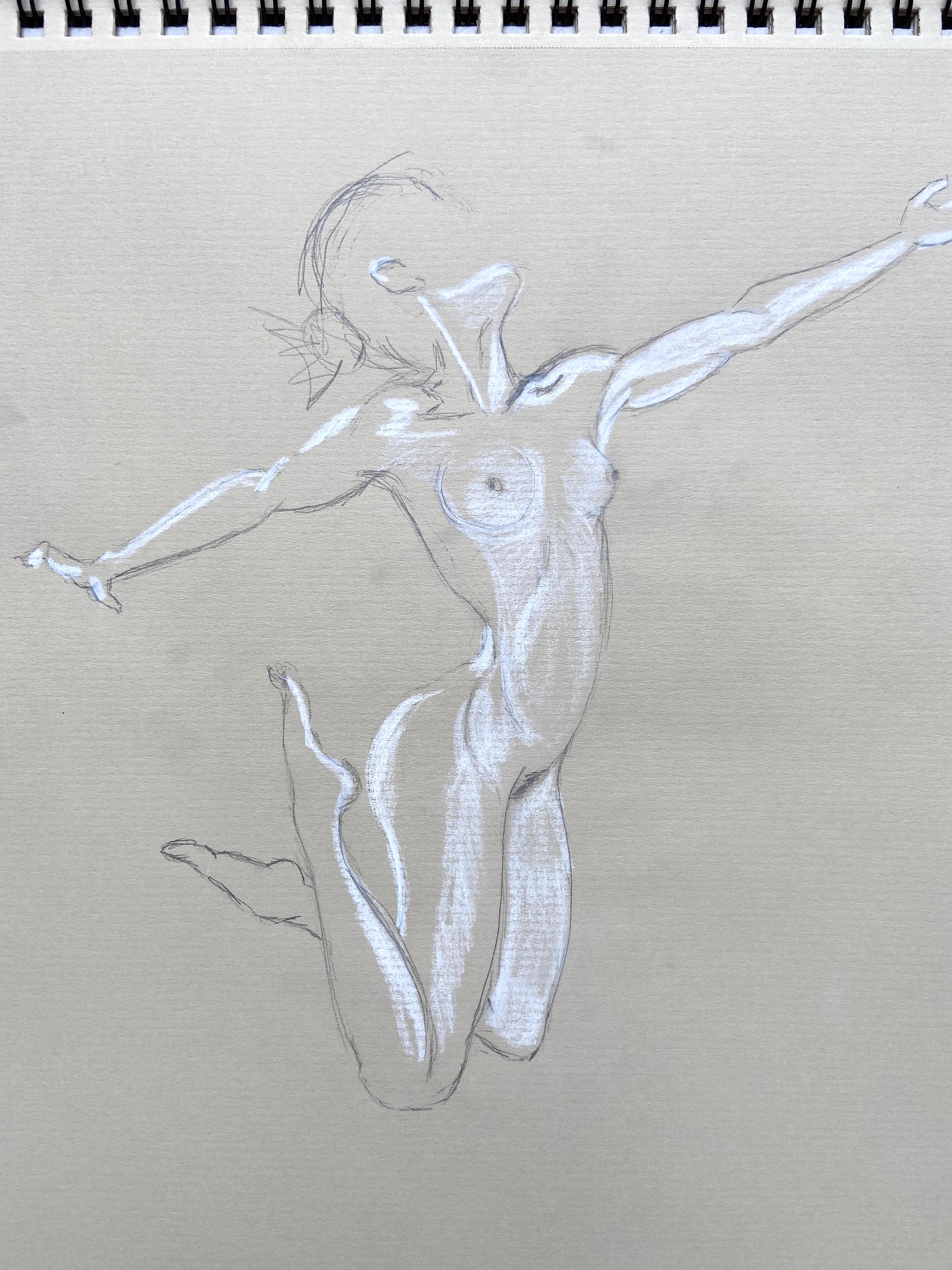 Dessin rapide graphite crayon blanc sur papier  cours de dessin