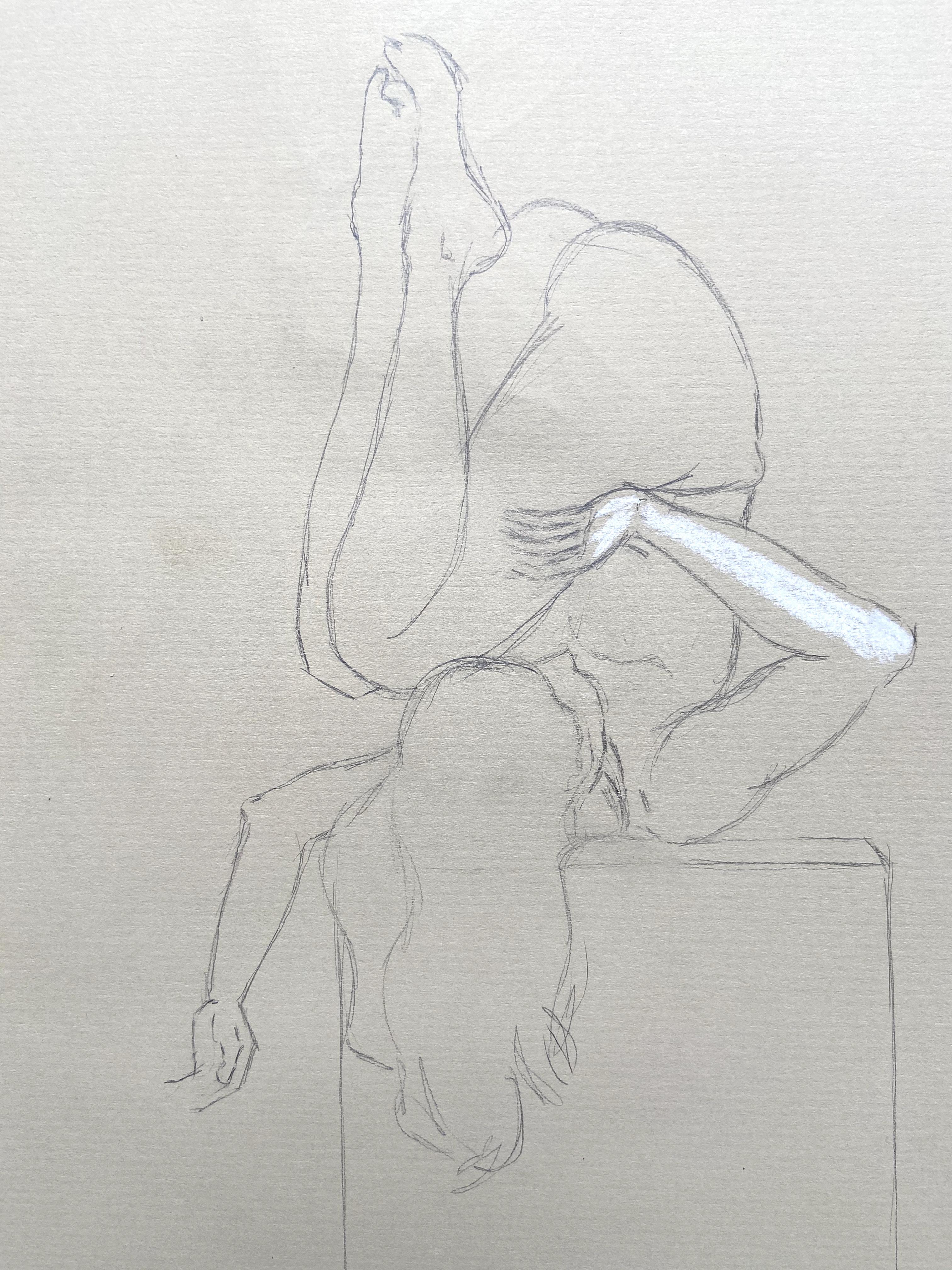 Ébauche dessin réhausse pastel blanche  cours de dessin