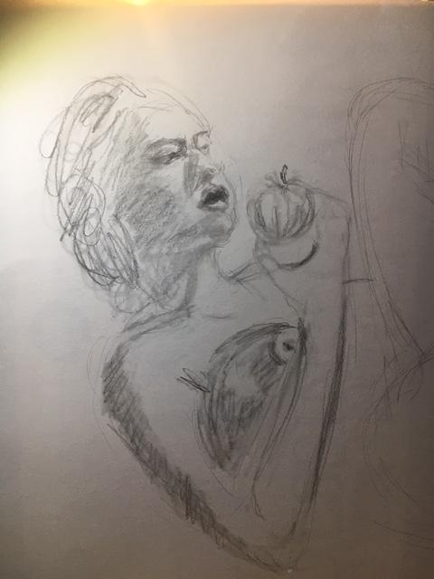 Portraits � la pomme graphite hachures sur papier  cours de dessin
