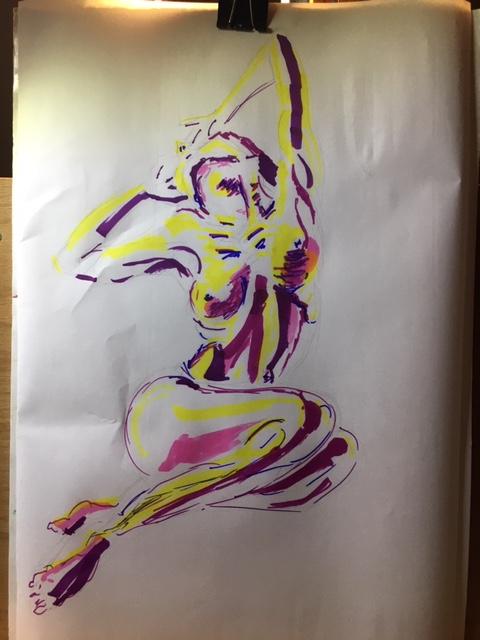 Croquis couleurs marqueurs sur papier  cours de dessin
